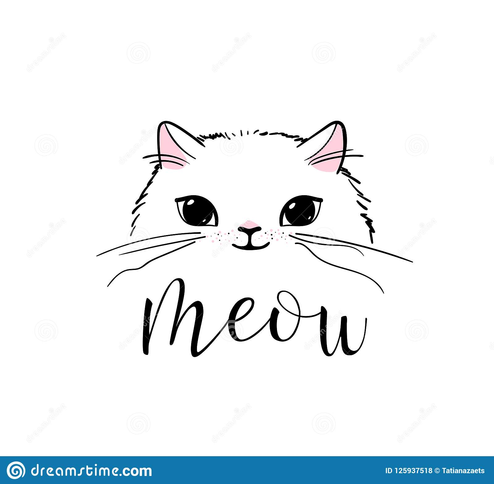 Cute Cat Vector Print Design Meow Lettering Text Kitten Face Vector Background Funny And Cool Smiling Cartoon Stock Vector Illustration Of Poster Kitty 125937518