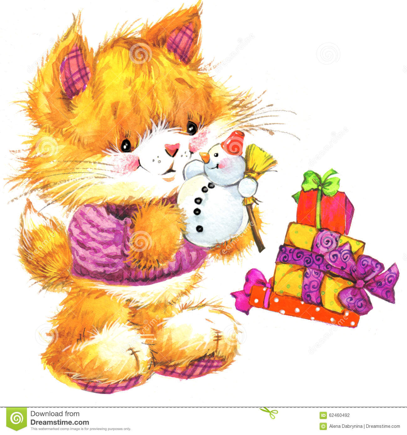 Cute cat watercolor funny cat and christmas background for Cute watercolor paintings