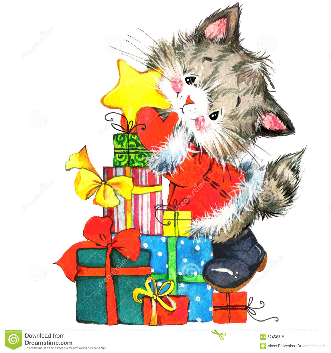 Cute Cat Watercolor Funny Cat And Christmas Background