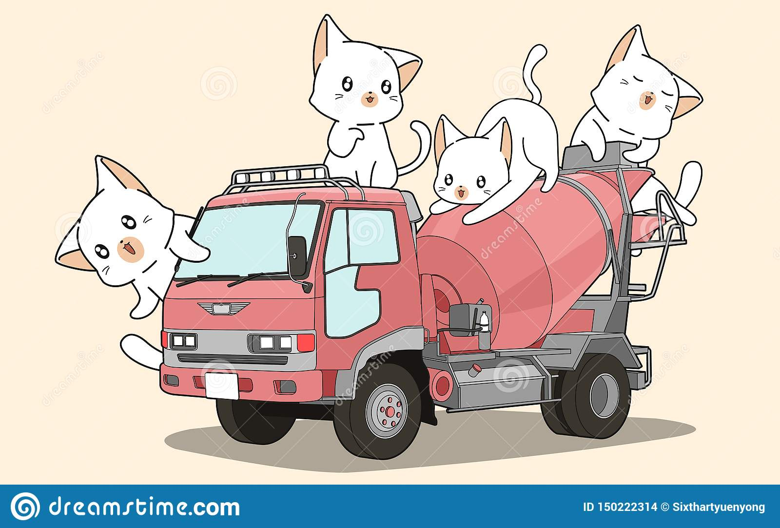 Cute Cats On Cement Mixer Truck Stock Vector - Illustration of