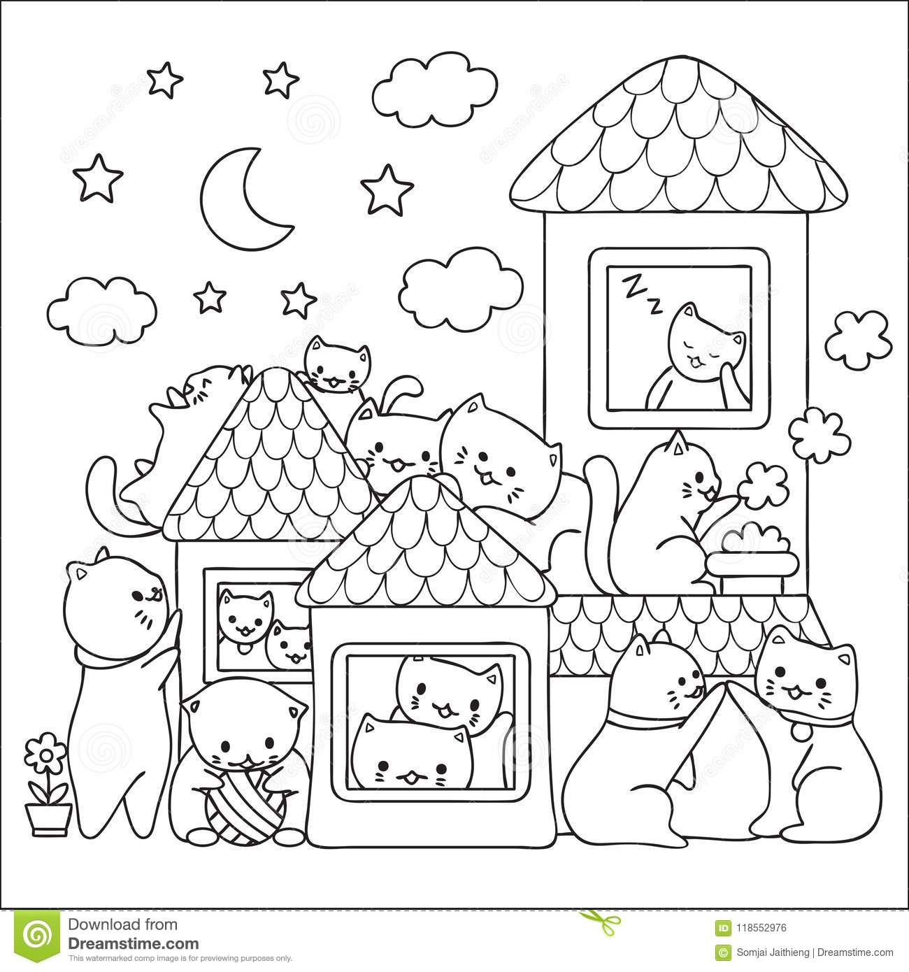 Cute Cats Enjoy Good Time Before Bed Design For Wallpaper