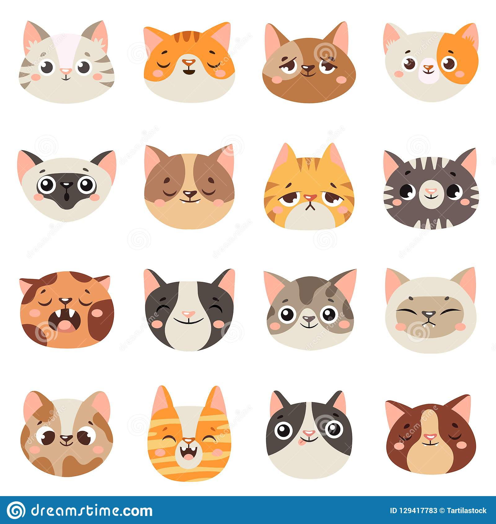 Cute Cats Faces. Happy Animals, Funny Kitten Smiling Mouth ...  Cute Cats Faces...