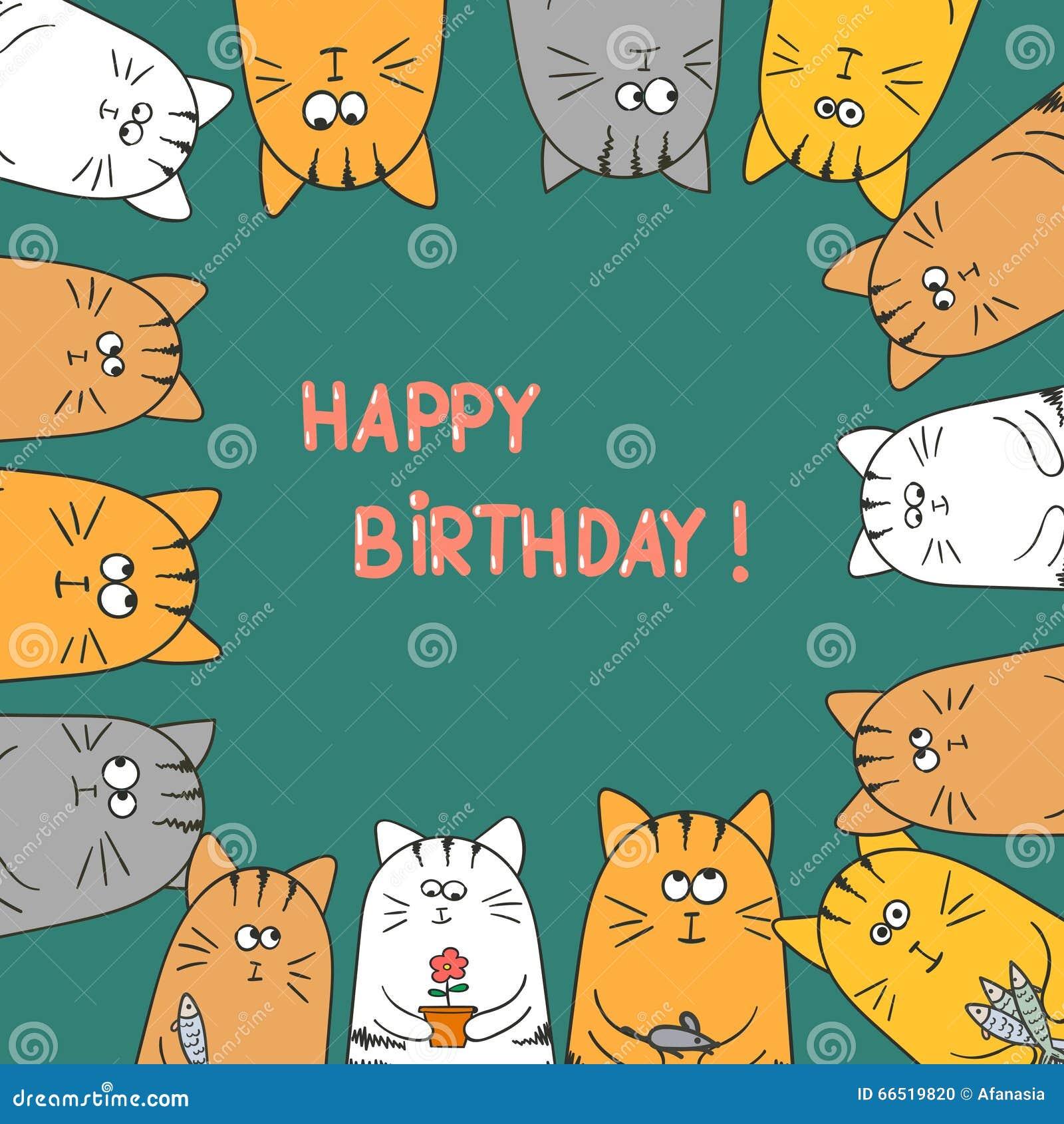 Cute Cats Happy Birthday Card