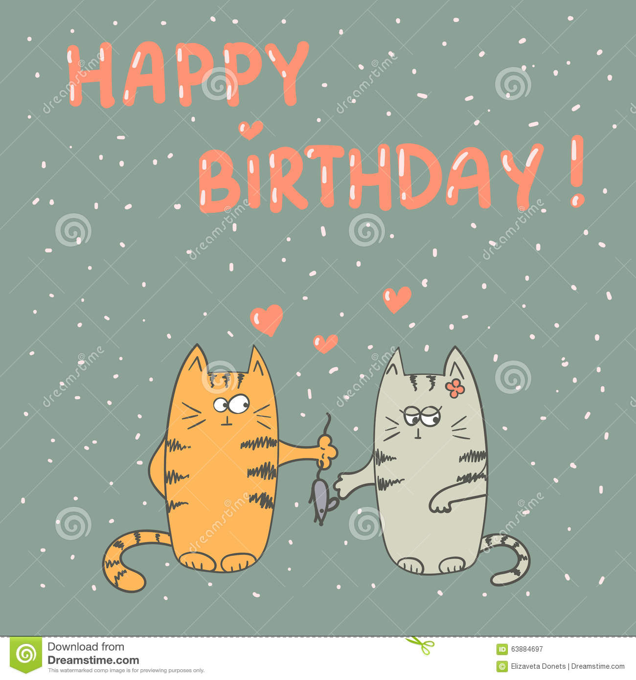 a938a6e8844 Cute Cats In Love. Happy Birthday. Stock Vector - Illustration of ...