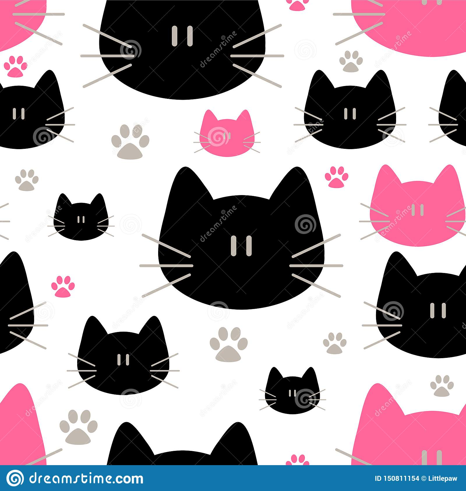 Cute Cats Seamless Pattern Sweet Kitty Texture For Wallpapers Fabric Wrap Web Page Backgrounds Vector Illustration Stock Illustration Illustration Of Heart Couple 150811154
