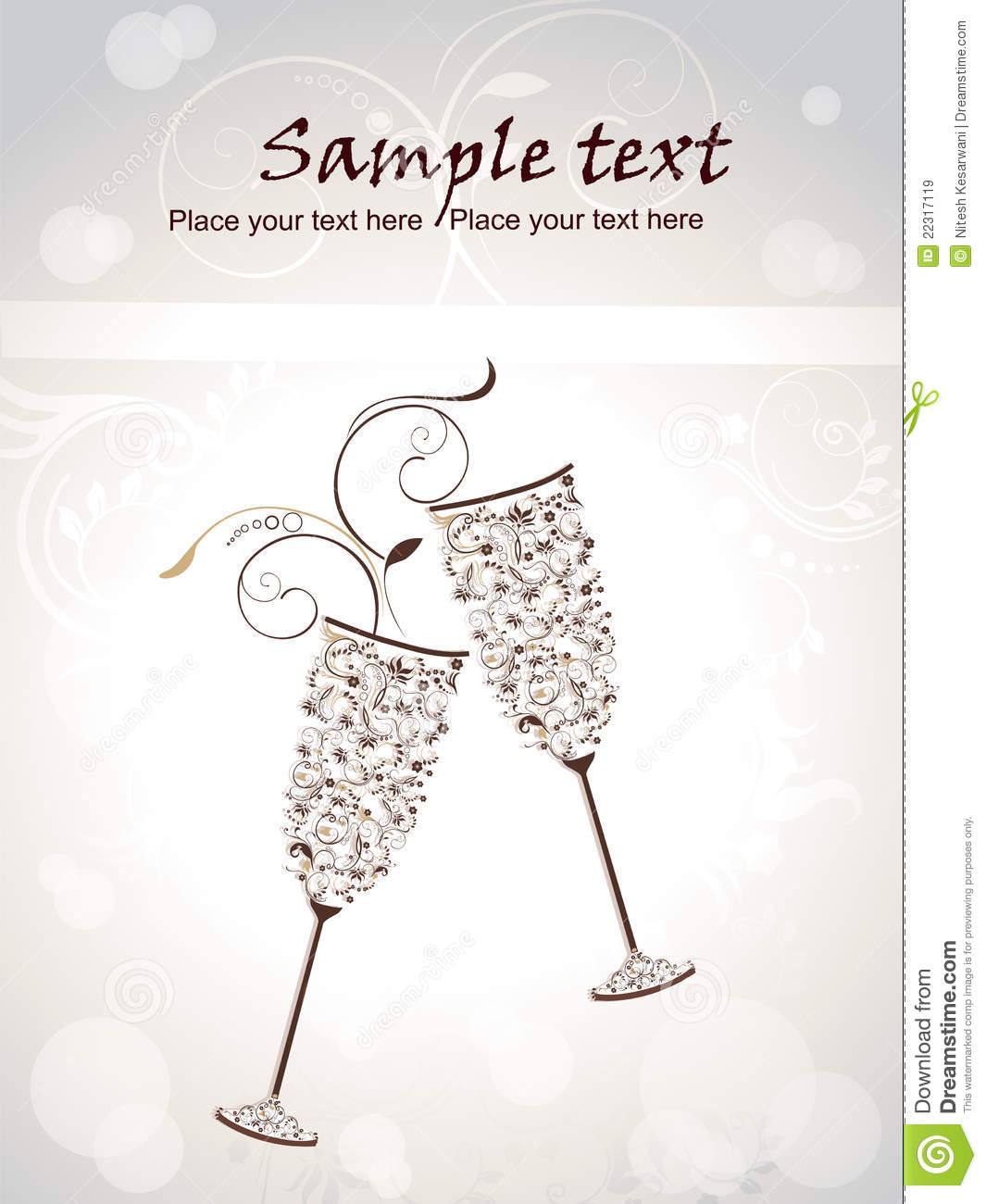 Cute Champagne Glass With Floral Pattern Royalty Free