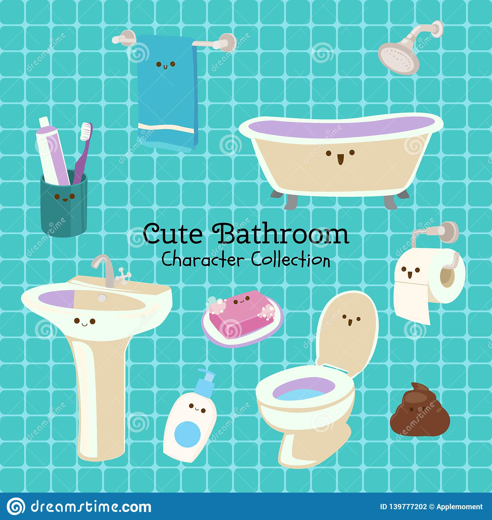Cute character set of things in the bathroom