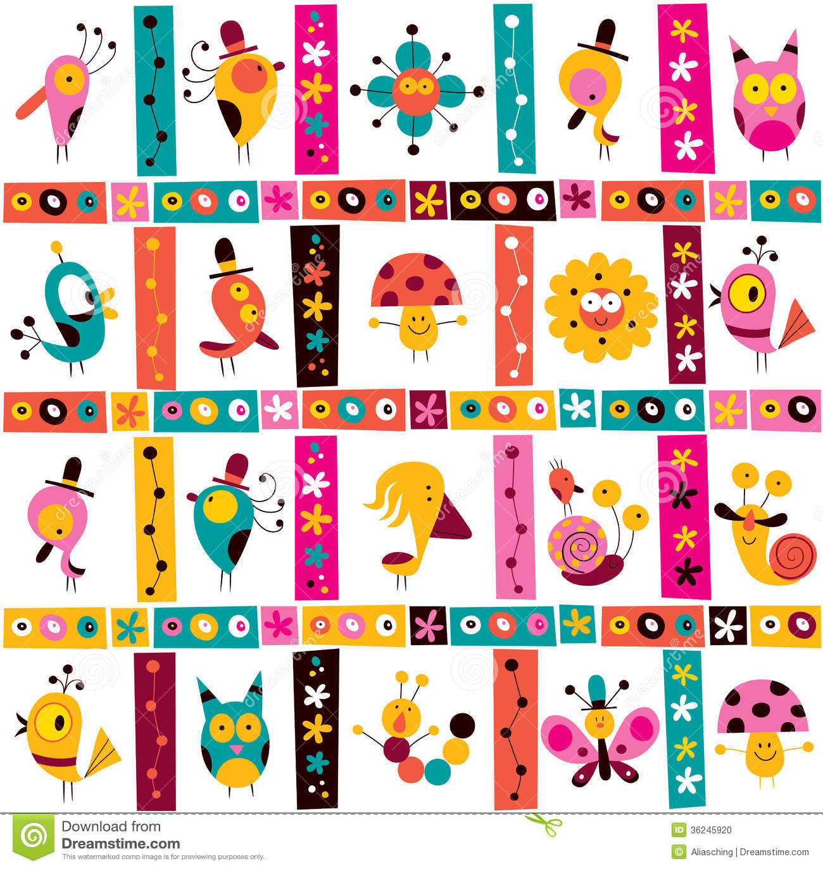 Character Design Kawaii : Cute characters nature pattern stock photo image