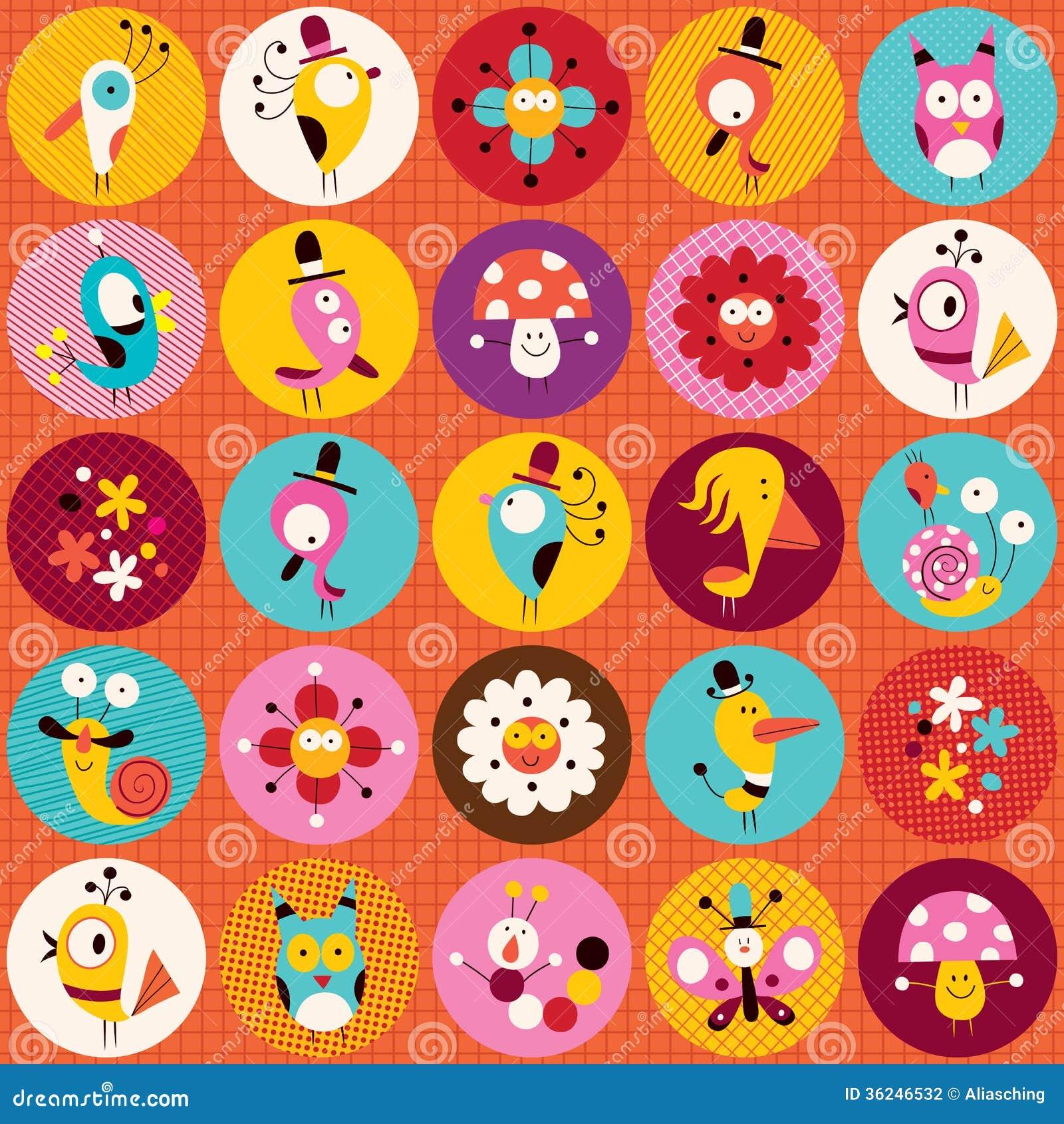 Character Design Kawaii : Cute characters nature pattern stock photography image