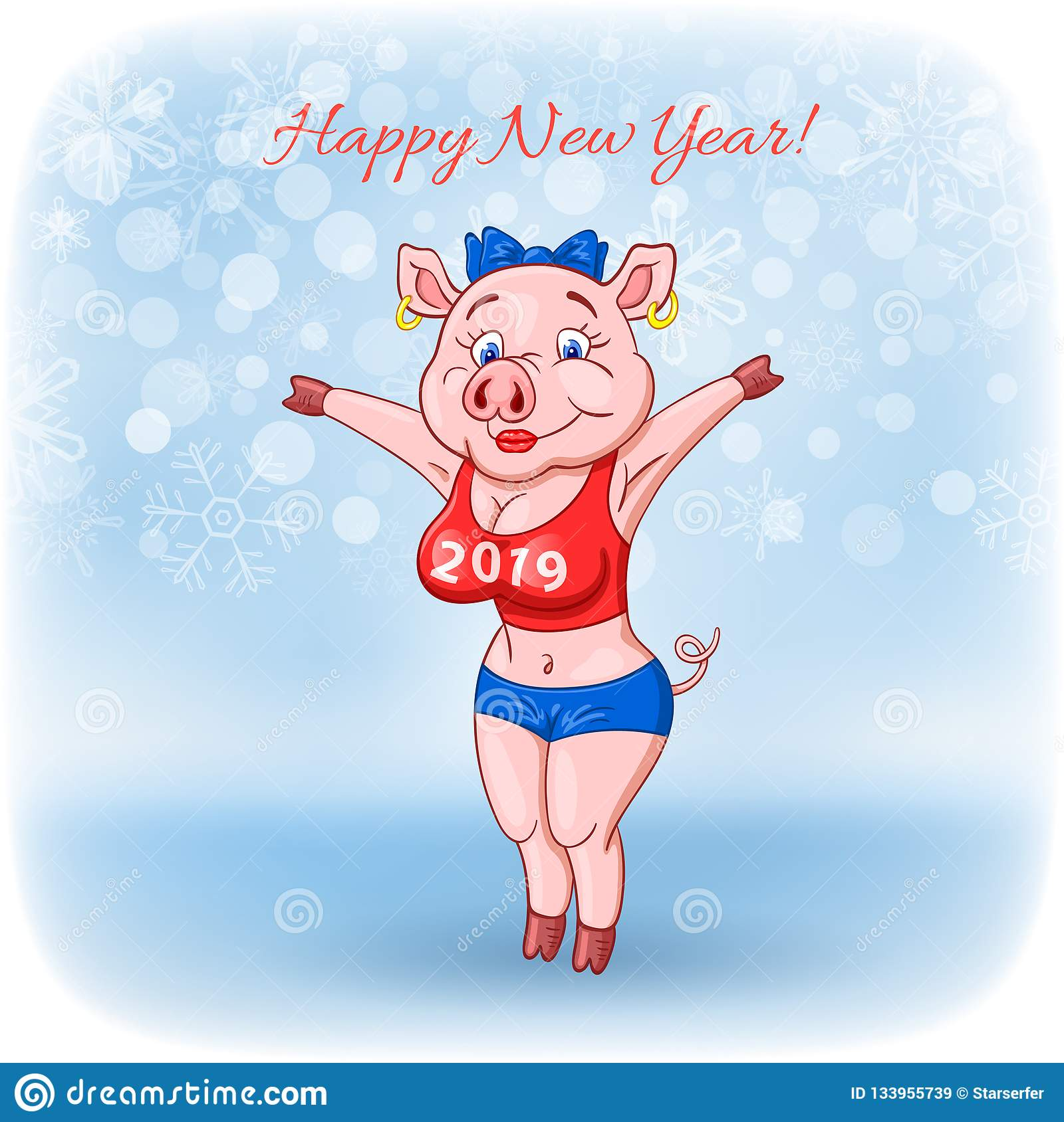 Cute cheerful female pig with 2019 inscription on her breast wishes a happy New Year