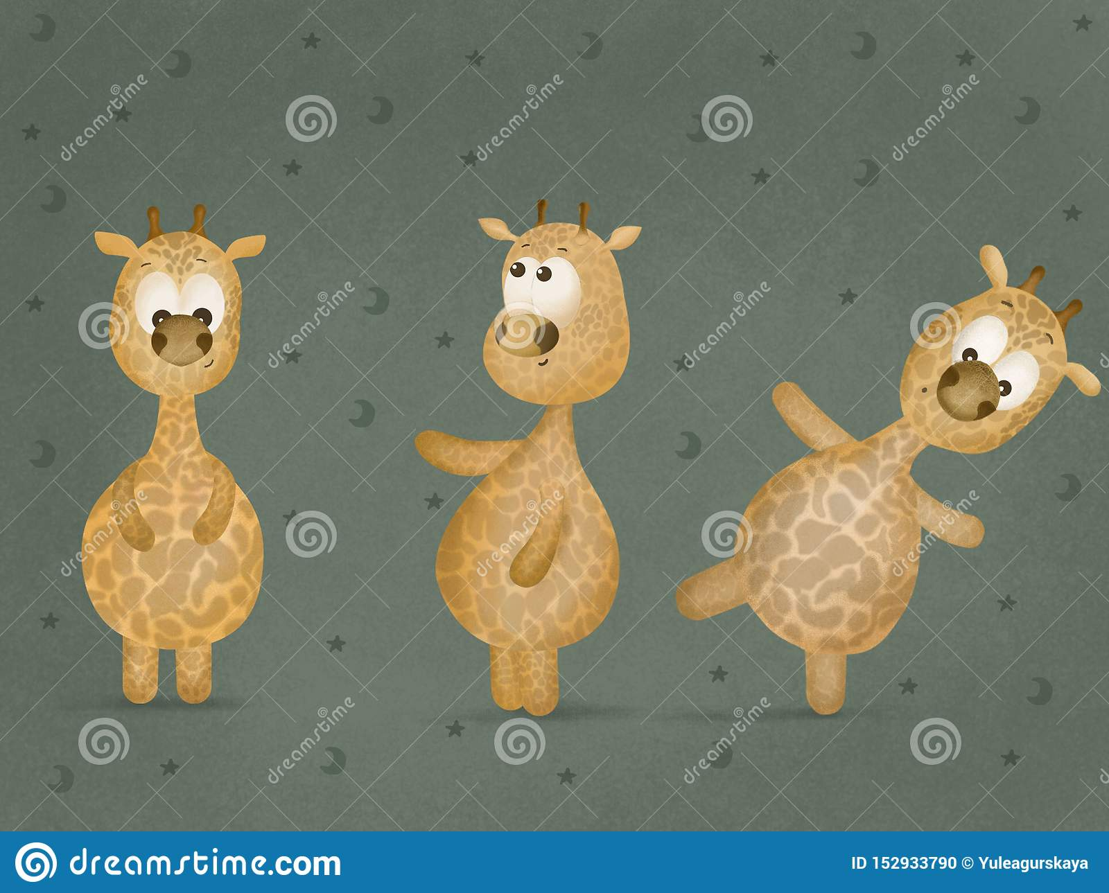 Cute cheerful giraffe. Stencil for children. White object on orange background. Сartoon zoo character. Template for