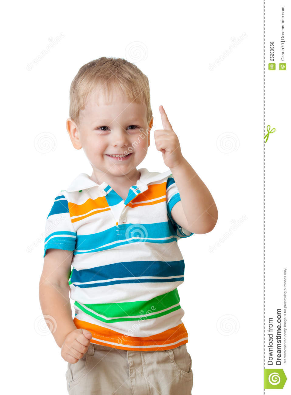 Cute Cheerful Kid Boy With Finger Up Stock Photo - Image ...
