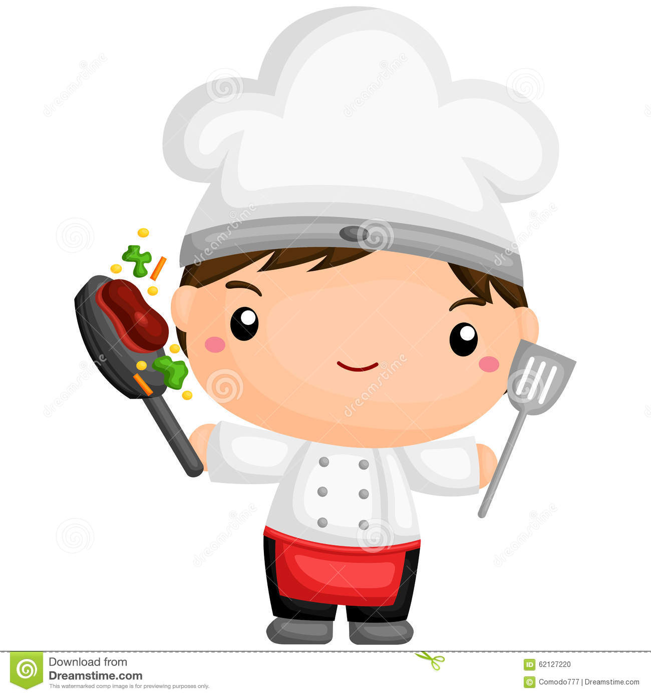 Cute chef stock vector image of cartoon steak vector 62127220 - Stylish cooking ...