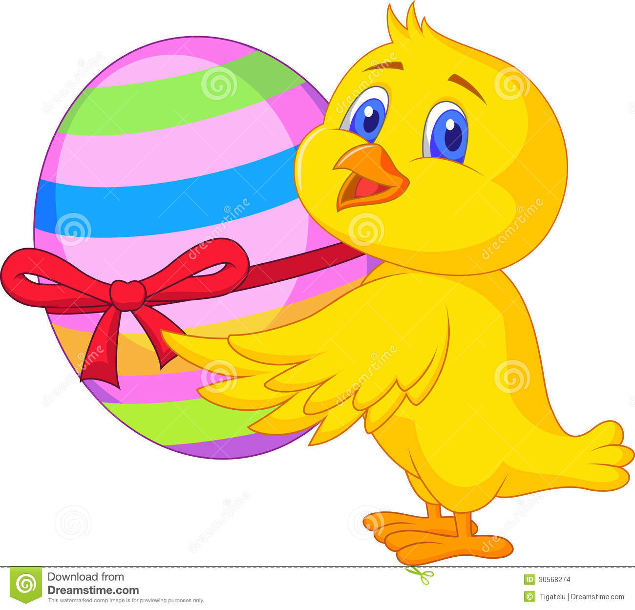 cute chicken cartoon with easter egg celebration ribbon - Easter Chick