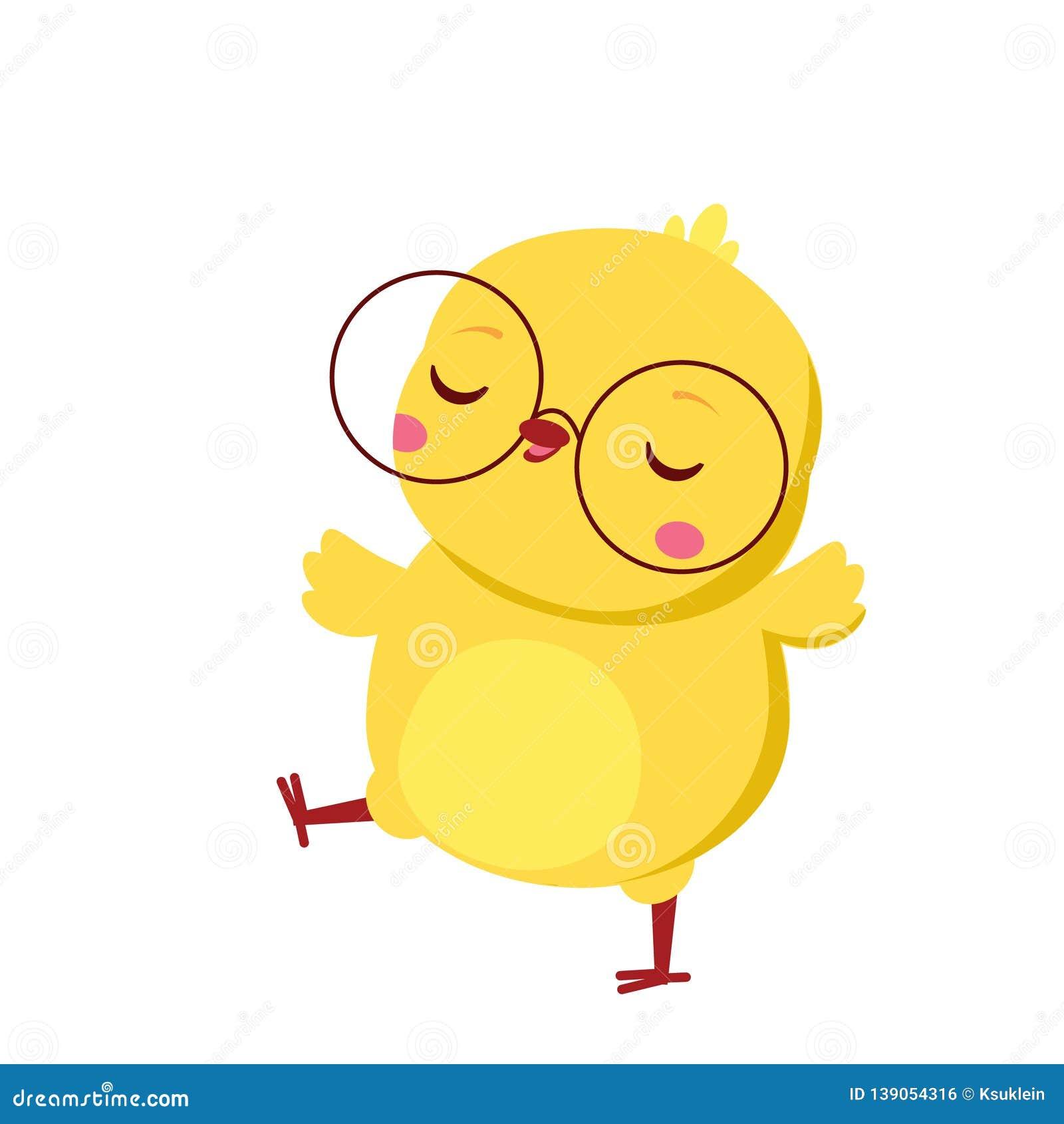 Cute Chicken. Cartoon Funny Baby Chick In Eyeglasses ...