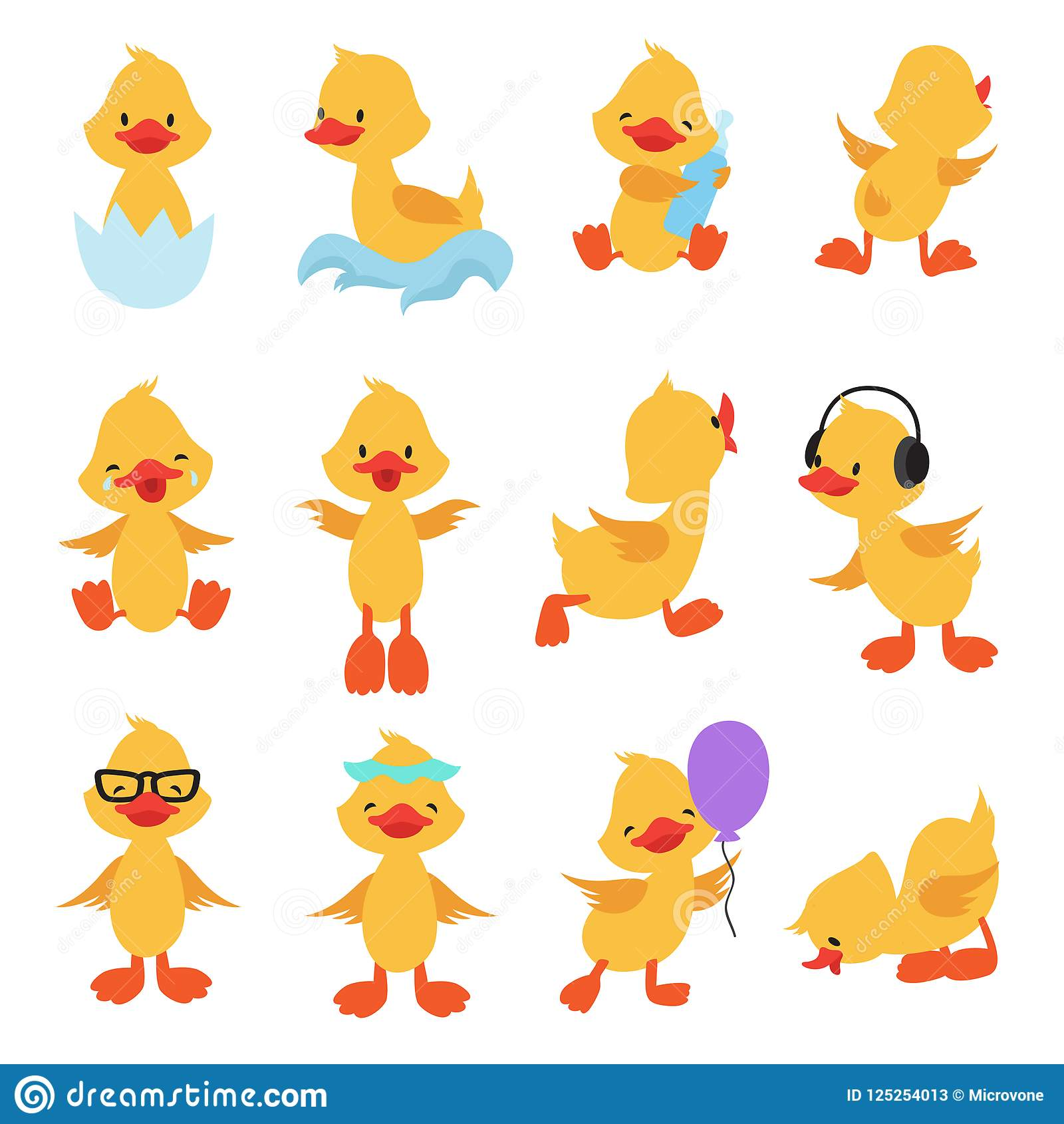 Cute Chicks Cartoon Yellow Ducks Baby Duck Vector Set Stock Vector Illustration Of Lovely Cartoon 125254013