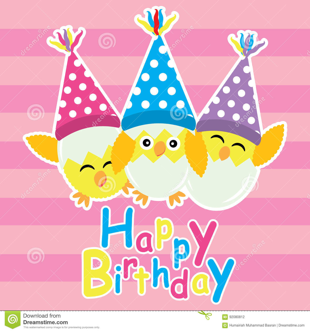 Cute Chicks Are Happy With Birthday Hat Vector Cartoon Postcard Wallpaper And