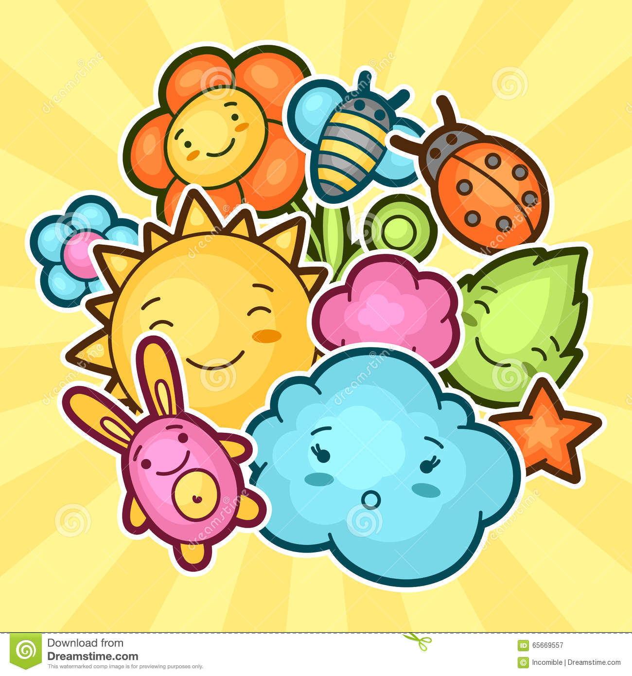 cute child background with kawaii doodles spring collection of