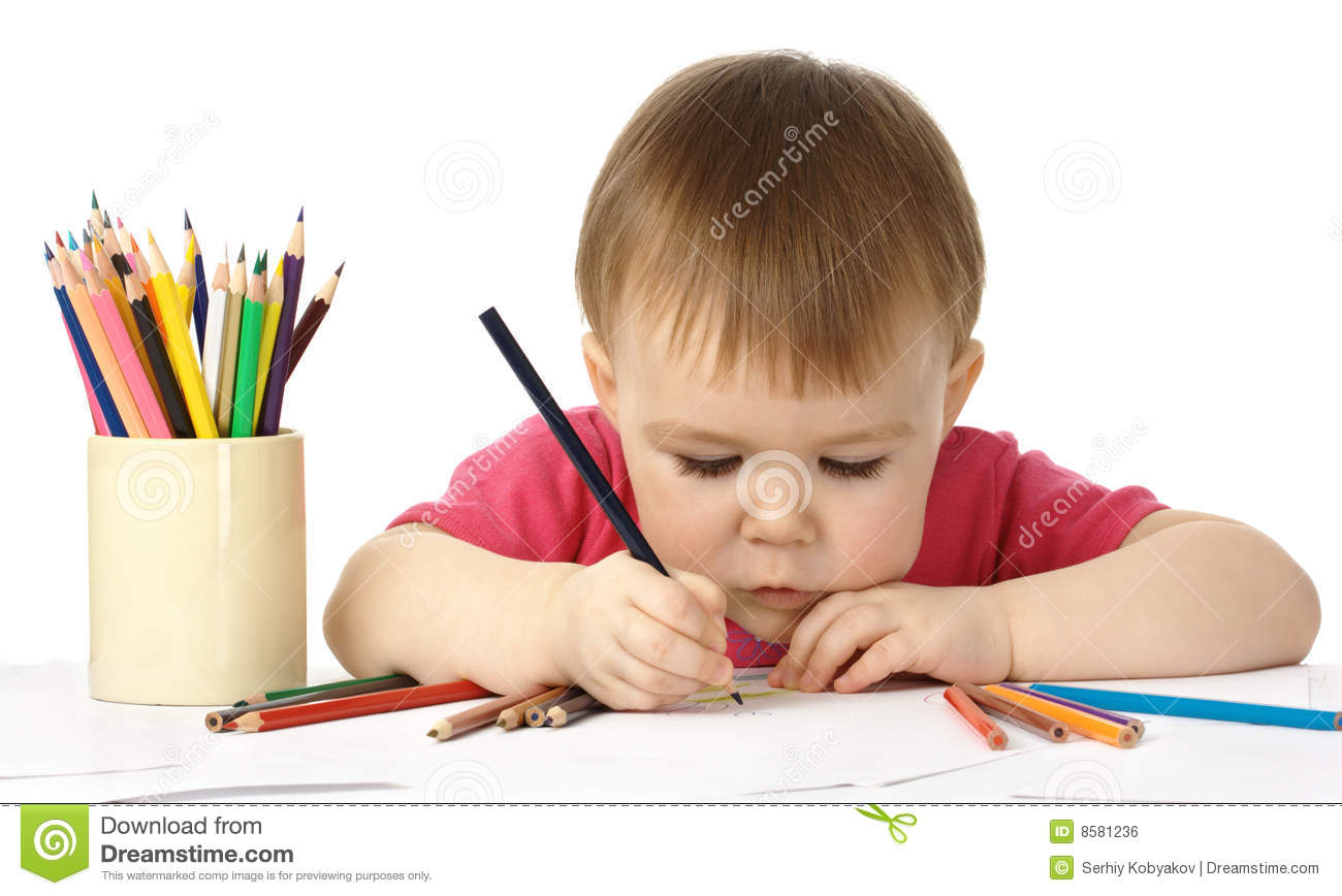 Royalty Free Stock Photo Download Cute Child Draw With Color Crayons