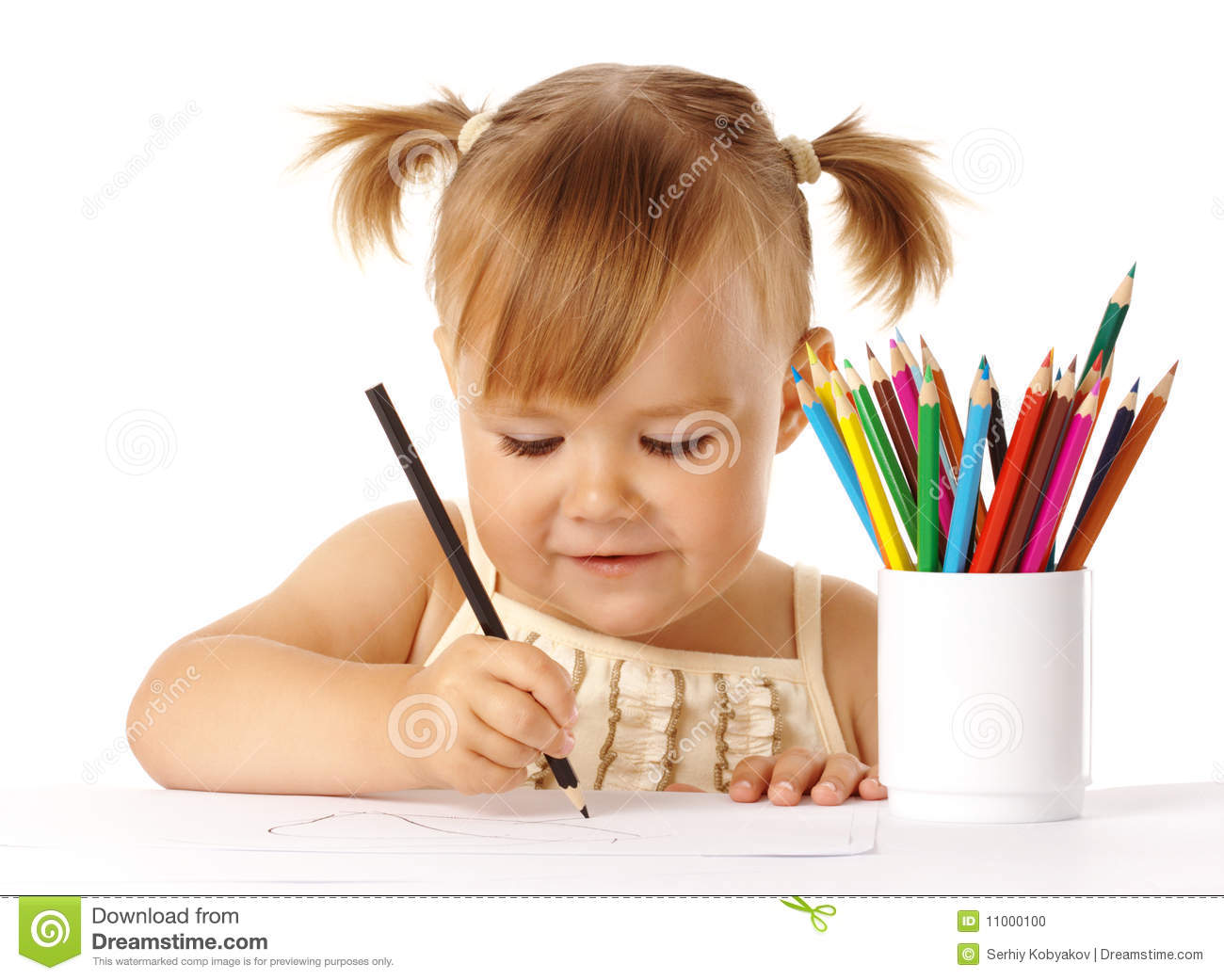 Cute Child Draw With Color Pencils Stock Photo Image