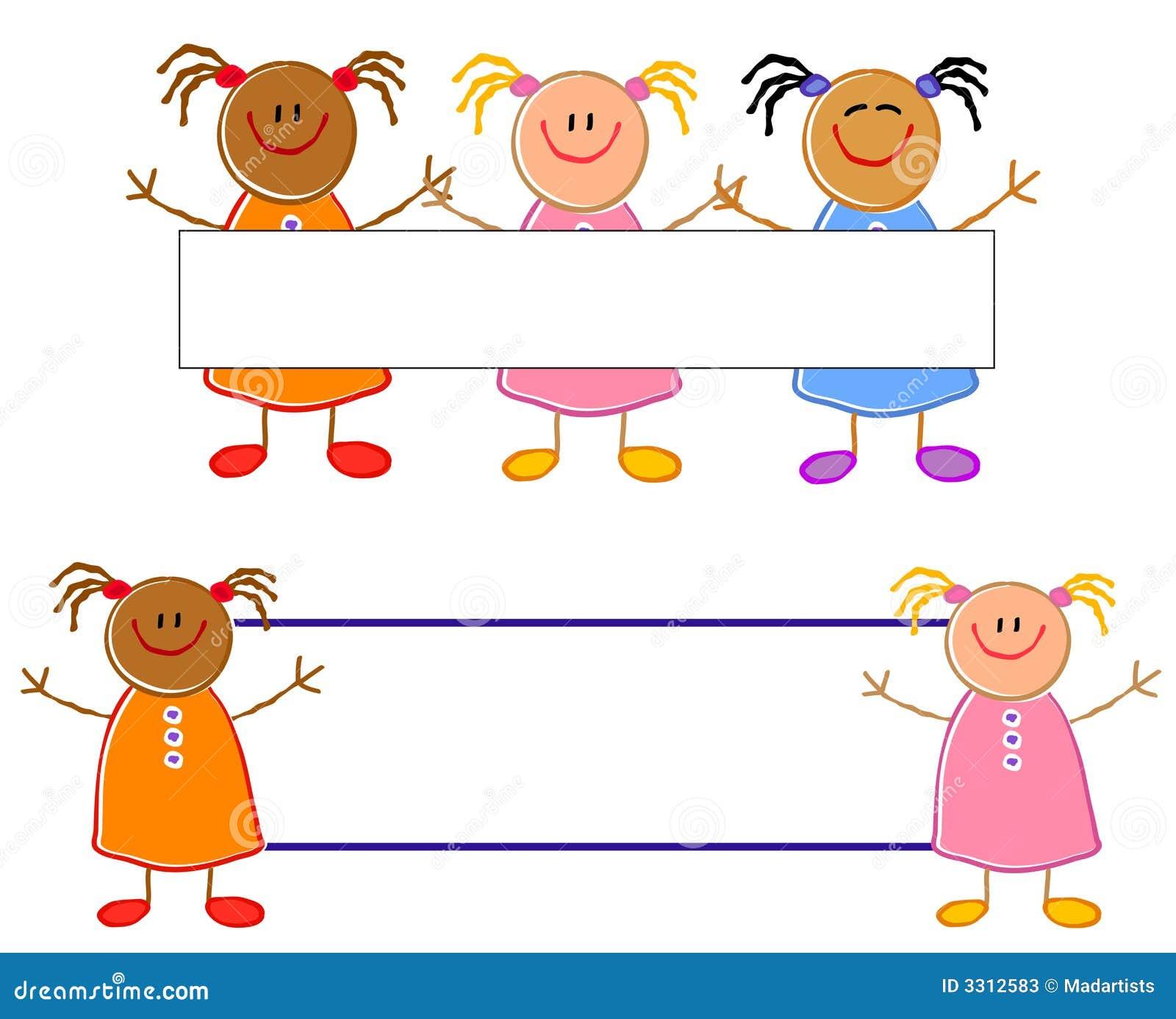 cute child drawing girls logos stock photos image 3312583