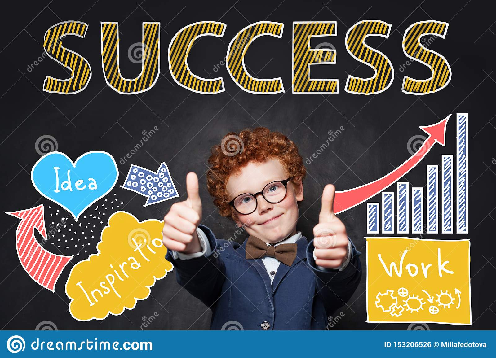 Cute child with ginger hair wearing glasses and suit having fun and showing thumbs up on hand drawing business sketch background