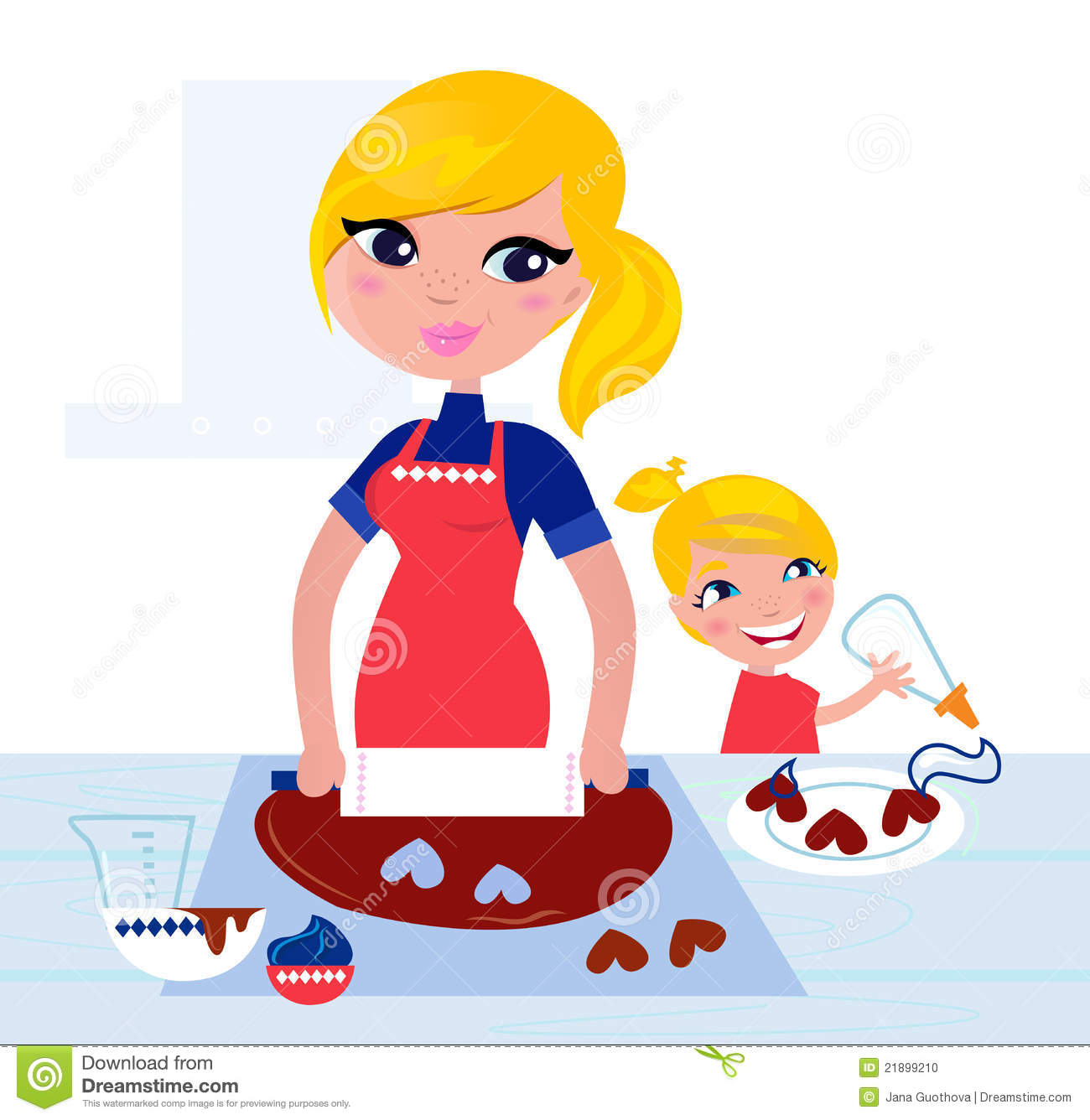 Cute Child Helping Her Mother With Baking Stock Vector