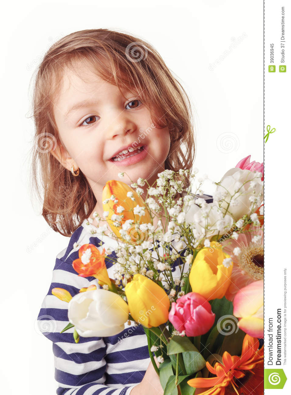 Cute Child Holding Fresh Spring Flowers Stock Image Image Of