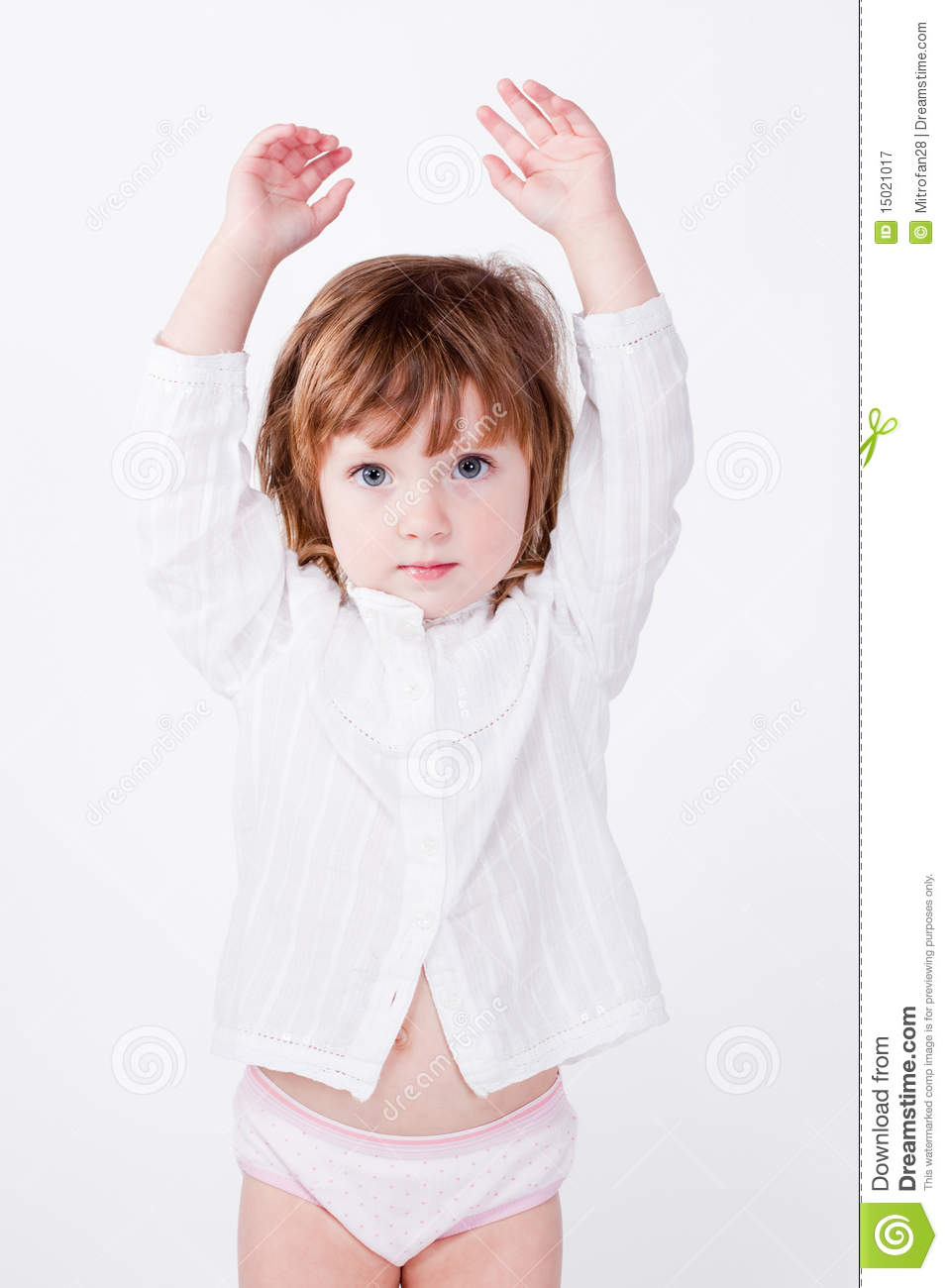 Cute Child Standing With Hands Up Stock Image - Image ...