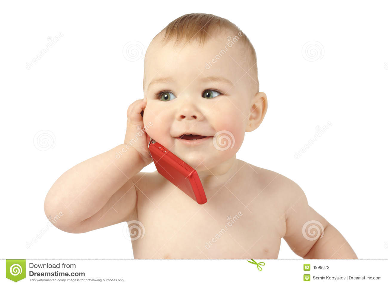 Cute Child Talking To A Cell Phone Stock Photo - Image ...