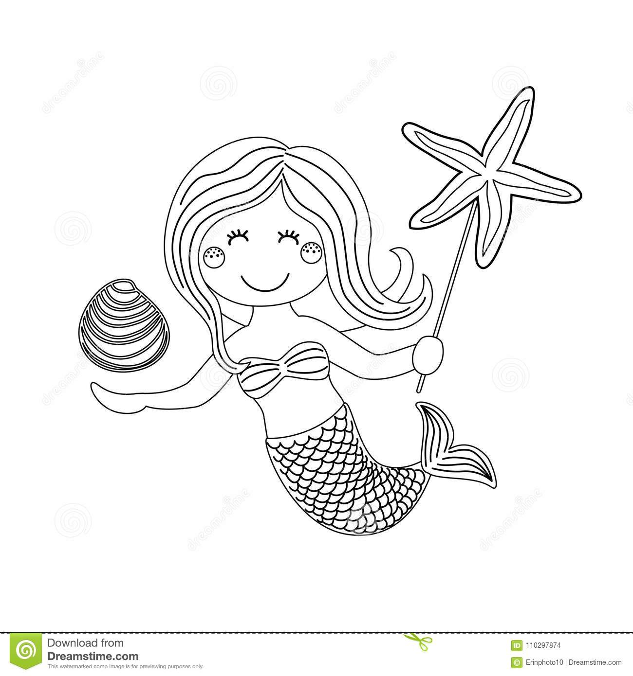 Cute Childish Hand Drawn Cartoon Character Of Little Mermaid With