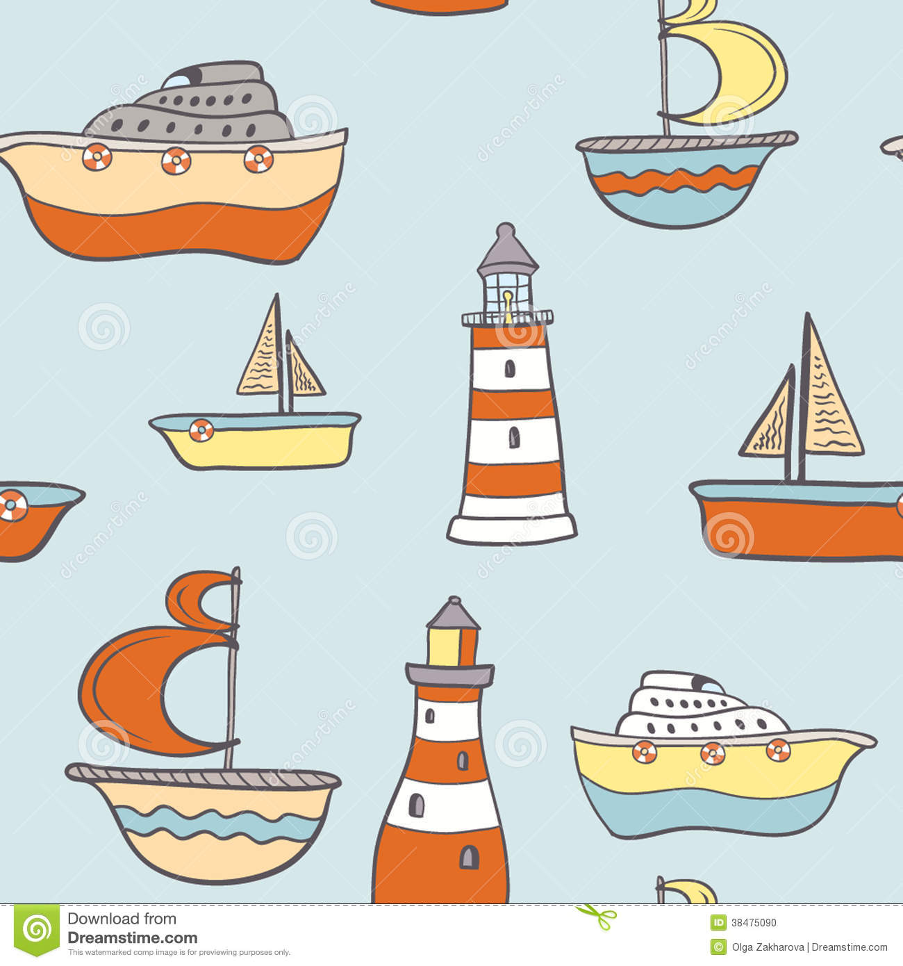 Cute Childish Seamless Background With Ships Stock Vector