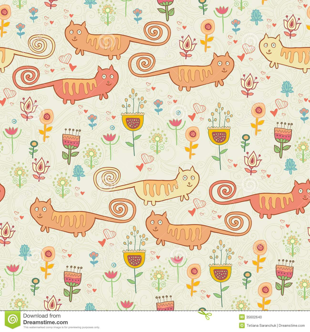 Cute Childish Seamless Pattern With Cats Stock Vector ...
