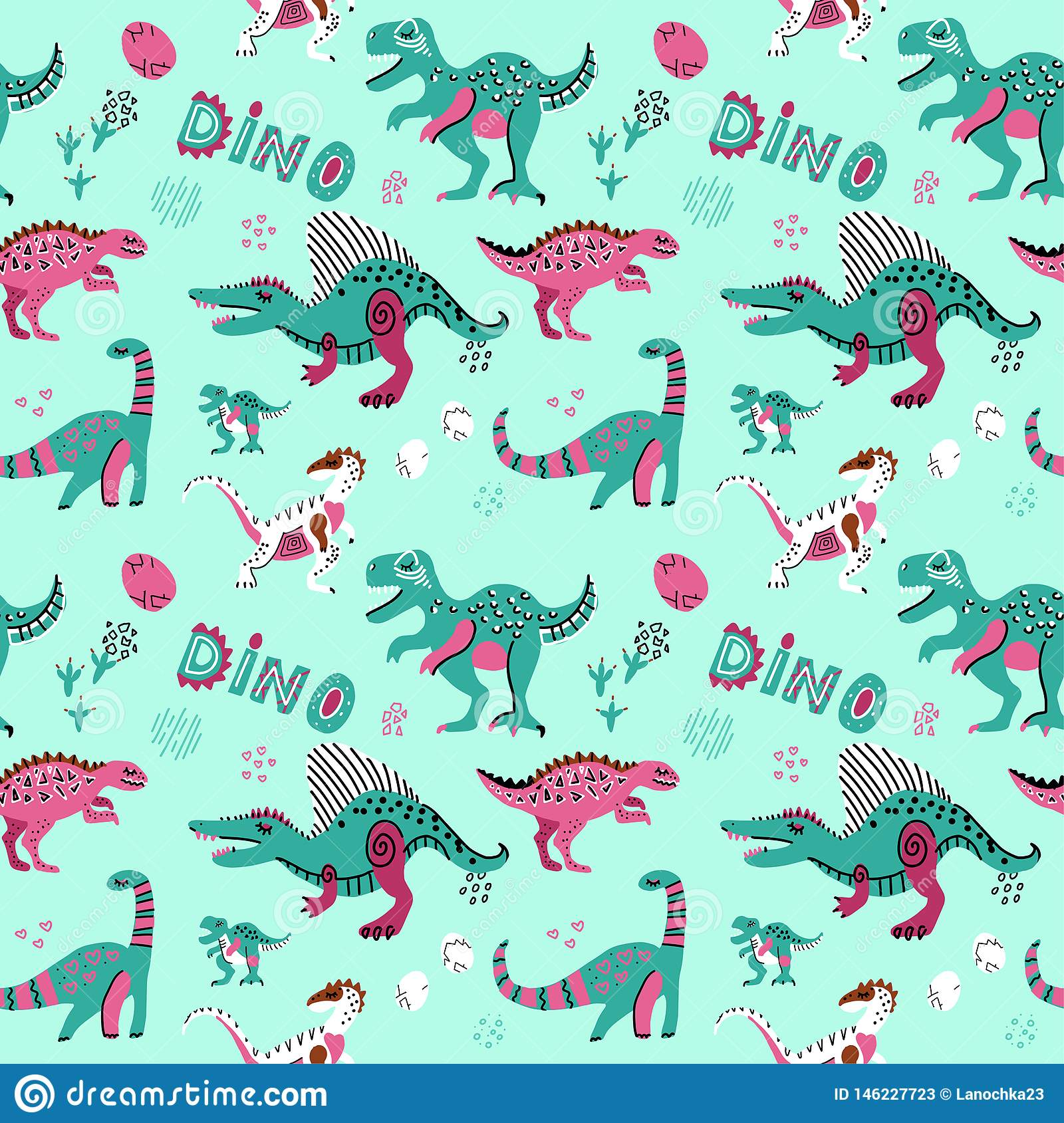 Cute childish seamless vector pattern with dinosaurswith eggs, decor and words dino. Funny cartoon dino. Hand drawn doodle design