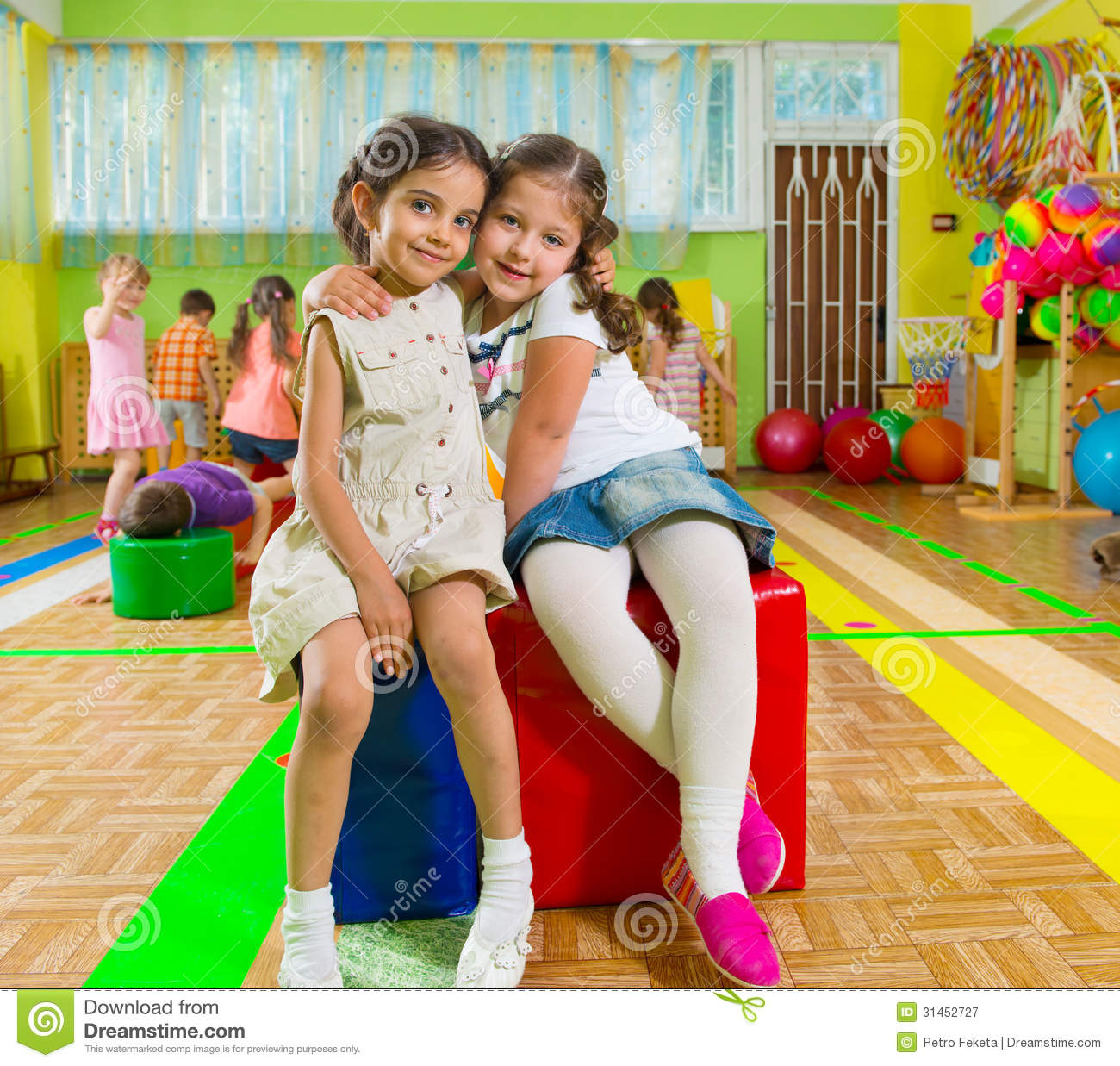 Kinder Garden: Cute Children In Gym Royalty Free Stock Photography