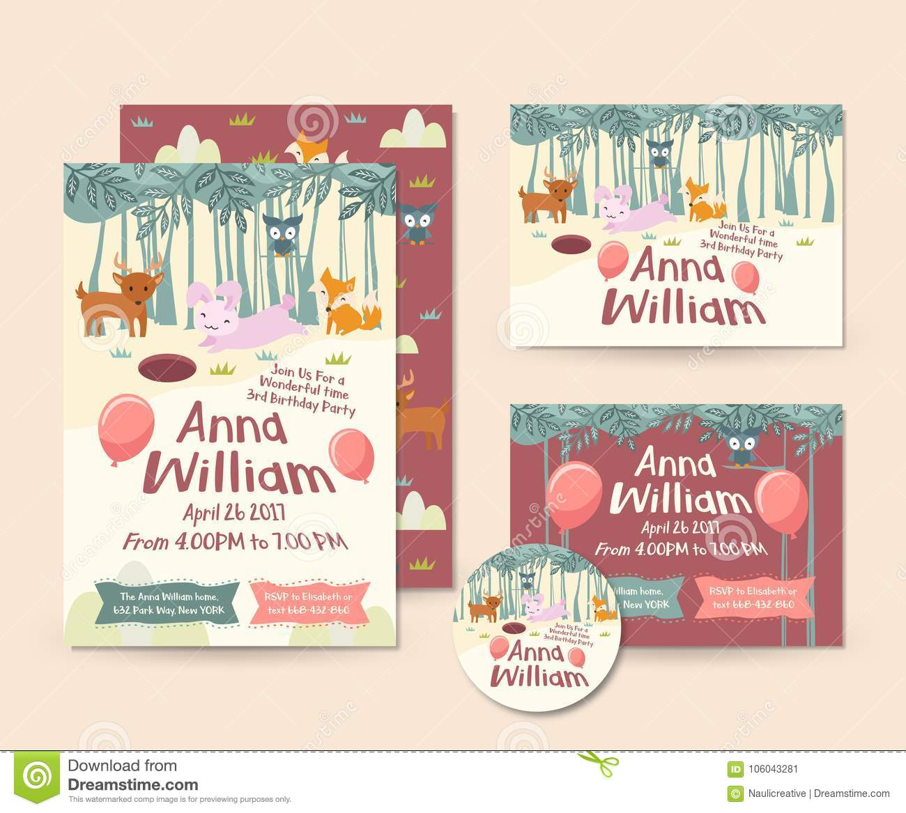 cute forest animal theme happy birthday invitation card set and