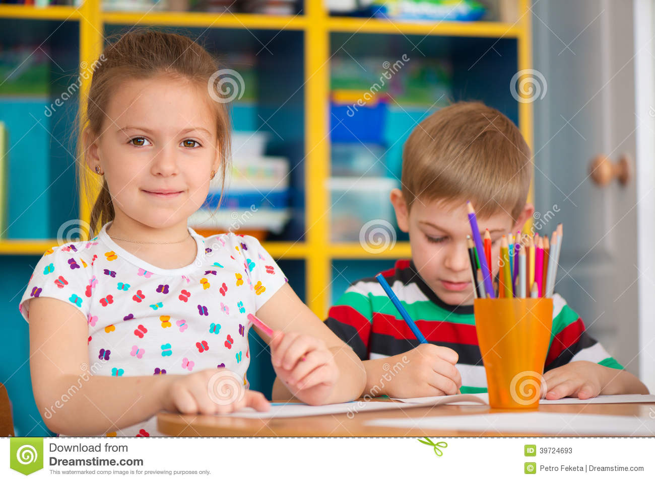 cute children study at daycare stock image - image of pencil, happy