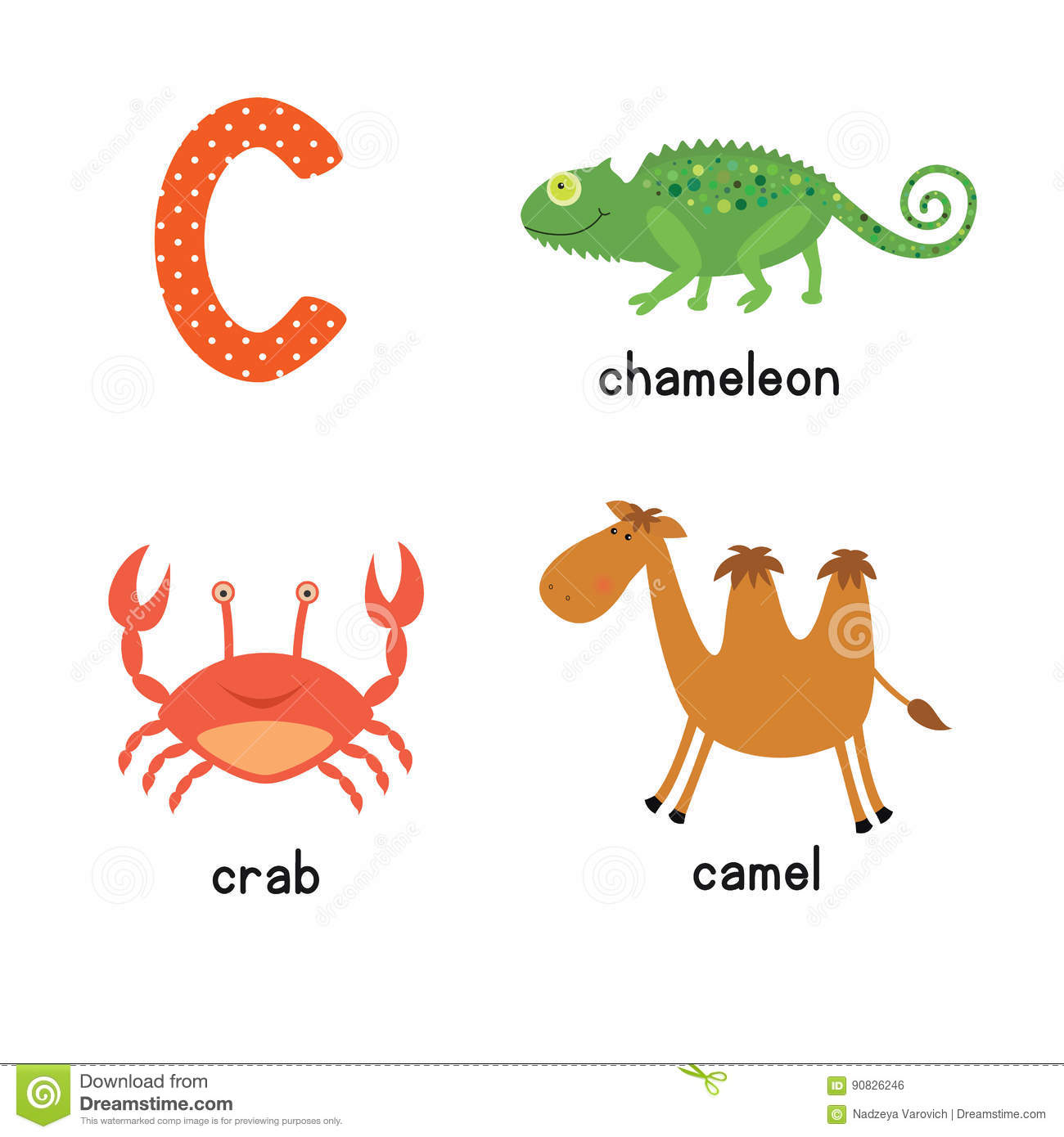 Cute Children Zoo Alphabet C Letter Tracing Of Funny Animal Cartoon