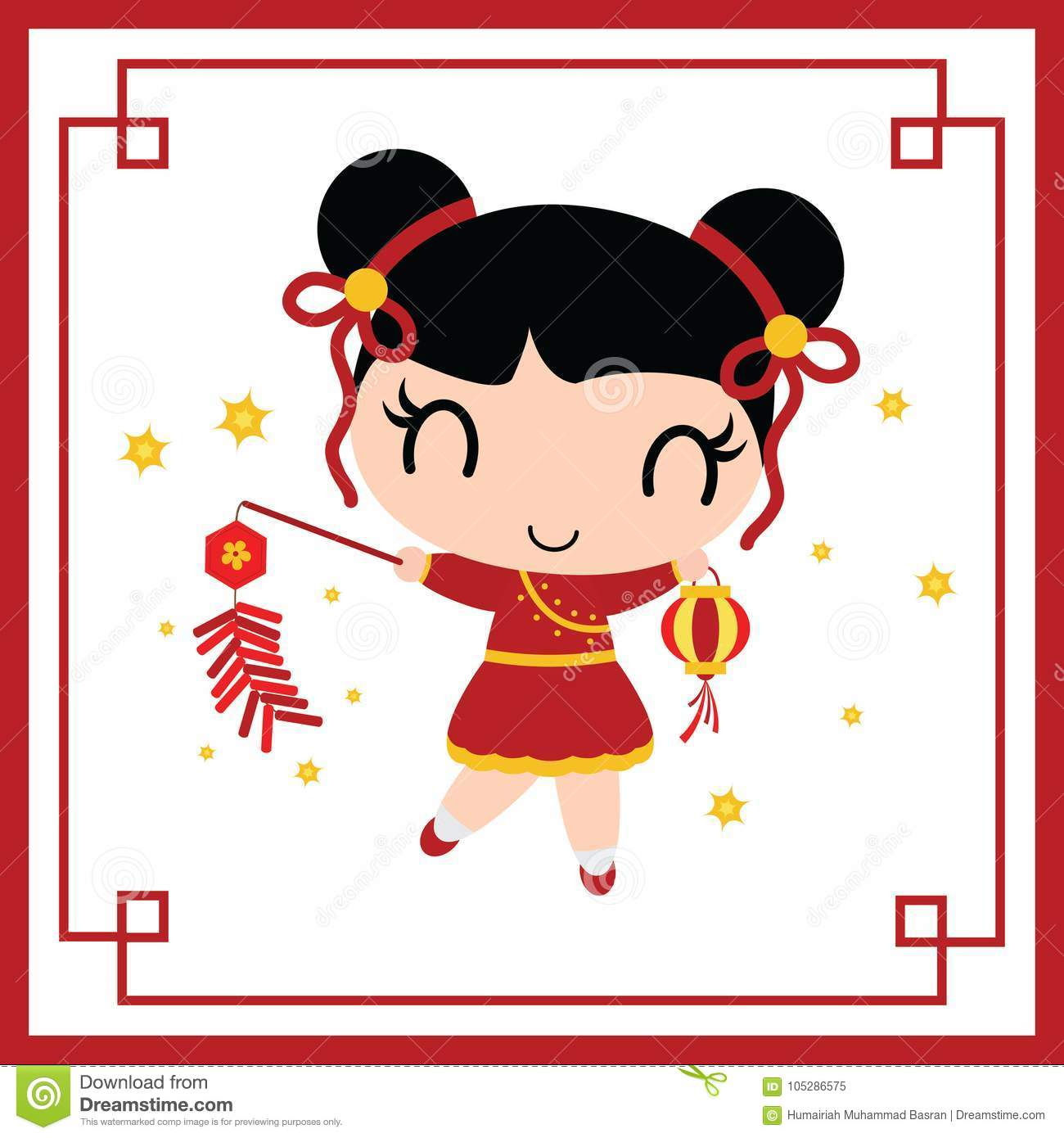 Cute Chinese Girl Plays Firecrackers Cartoon Illustration For Chinese New Year Card Design Stock Vector Illustration Of Banner Cartoon 105286575