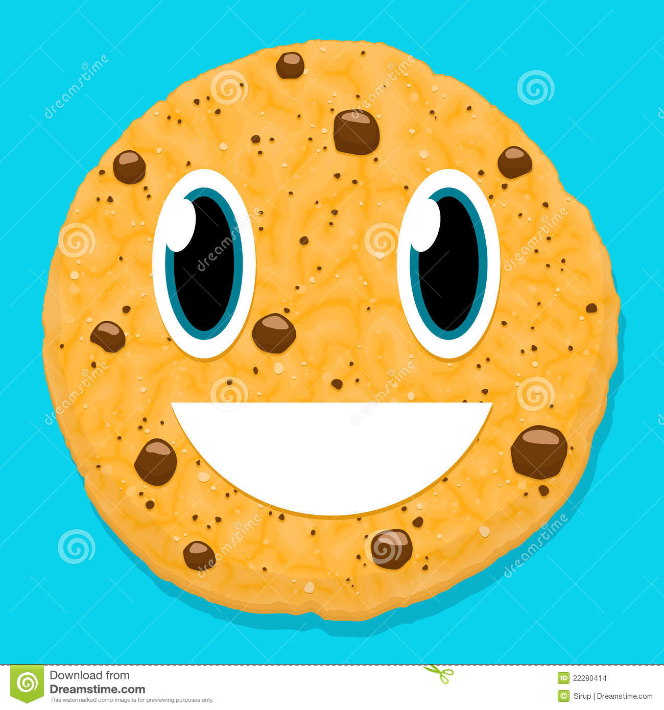 cute chocolate cookie character with smiley face stock