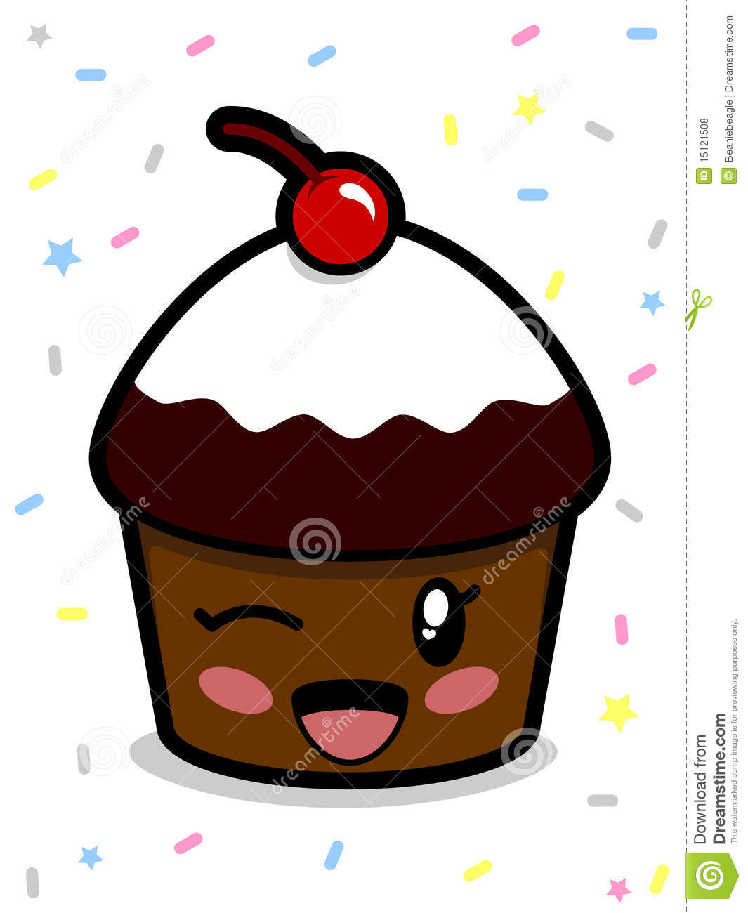 Cute Chocolate Cake Images : Cute Chocolate Cupcake stock vector. Image of ...