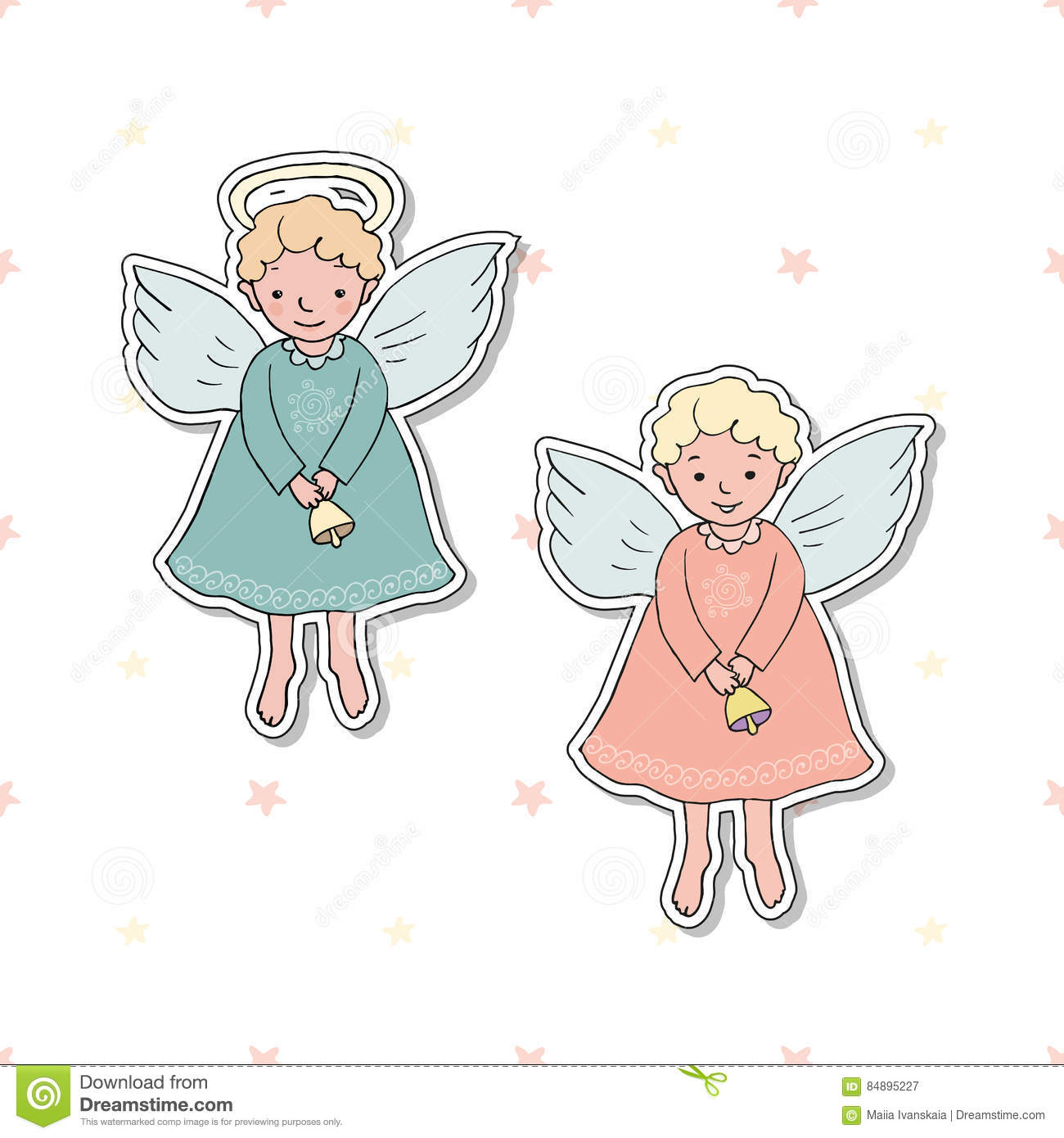 Cute Christmas Angel With Bell In Cartoon Style Stock Vector ...