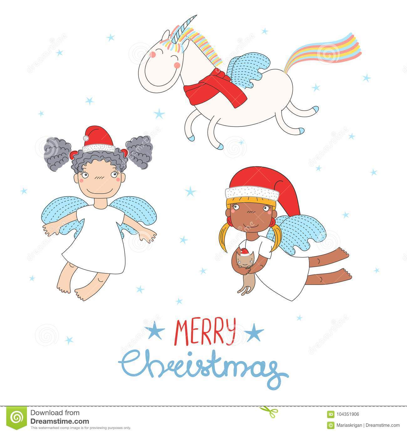 Cute Christmas angels stock vector. Illustration of drawn - 104351906