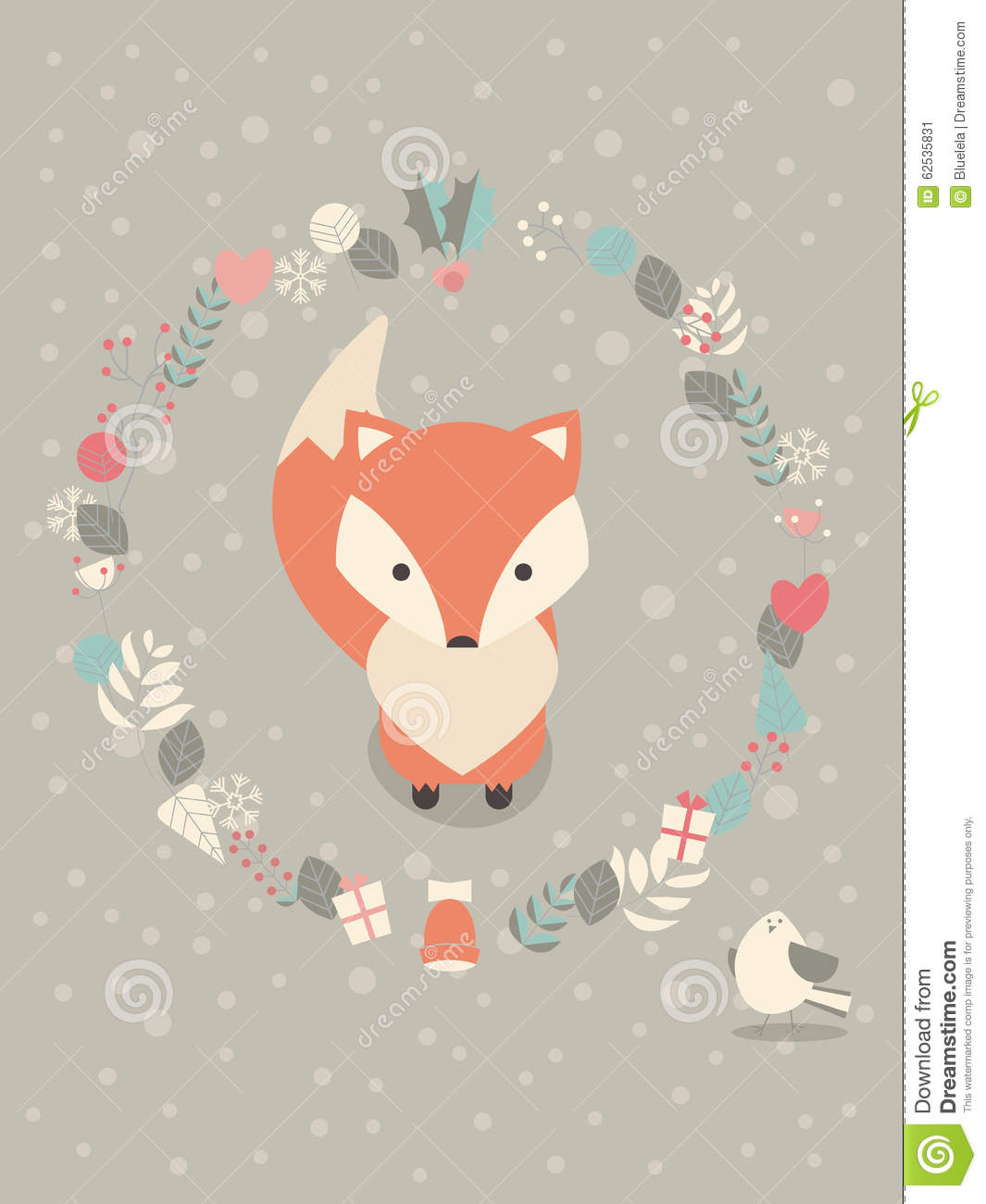 Cute Christmas Baby Fox With Floral Decoration Stock