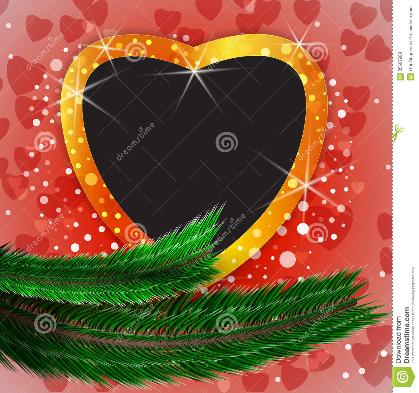 Cute christmas background with heart shaped blank photo