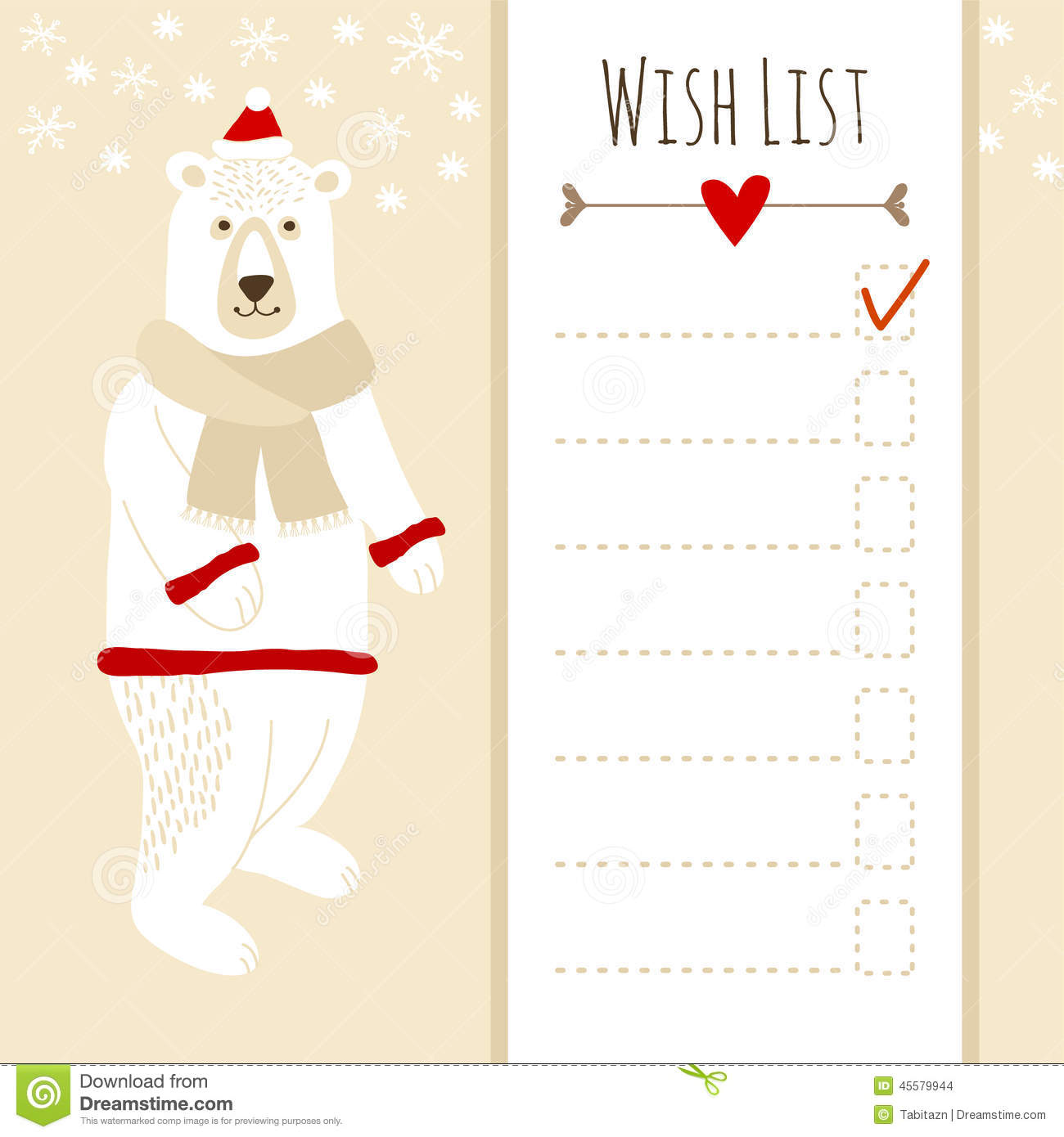 cute christmas card baby shower wish list with polar bear stock vector