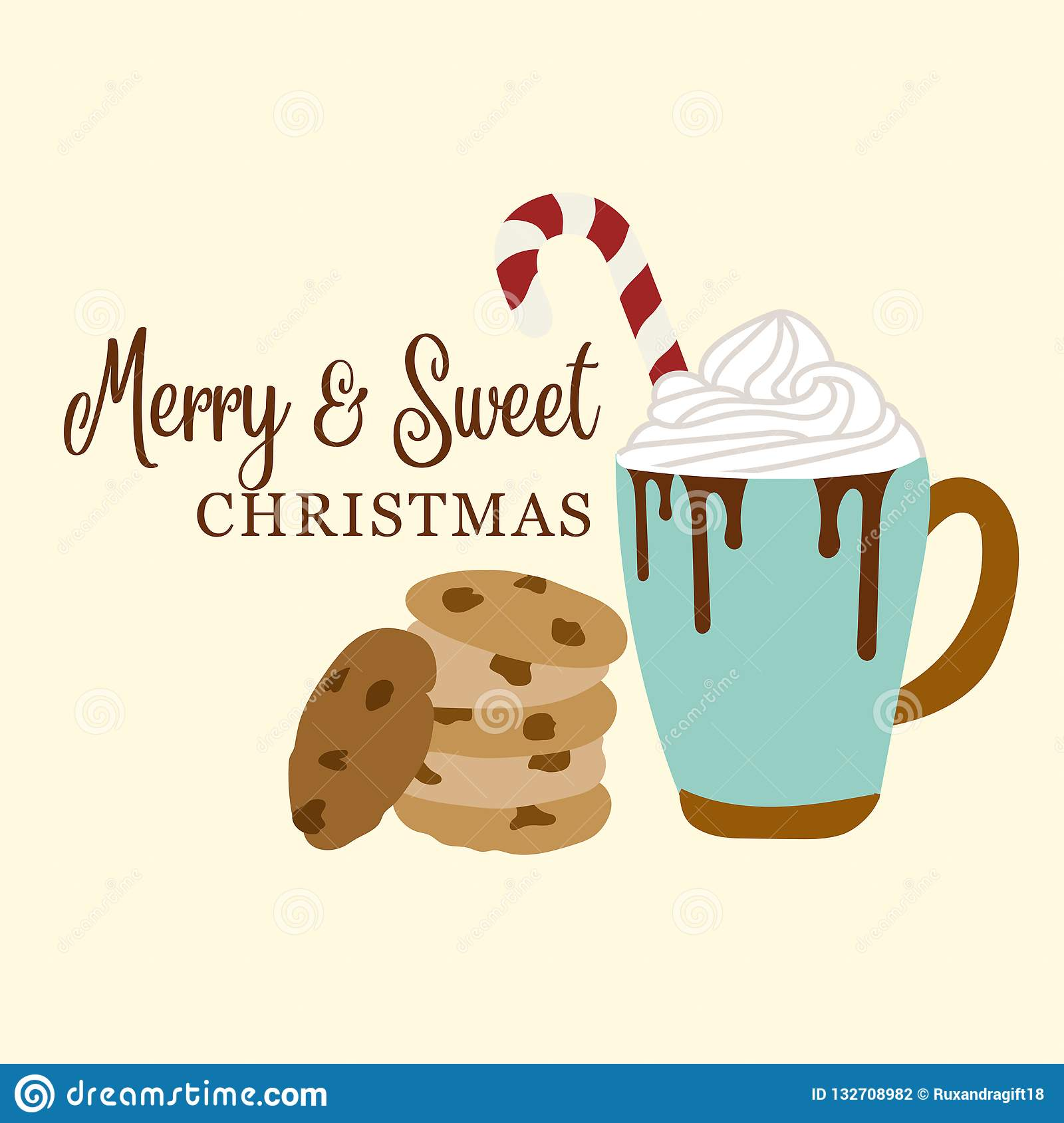 Cute Christmas card with hot chocolate and cookies