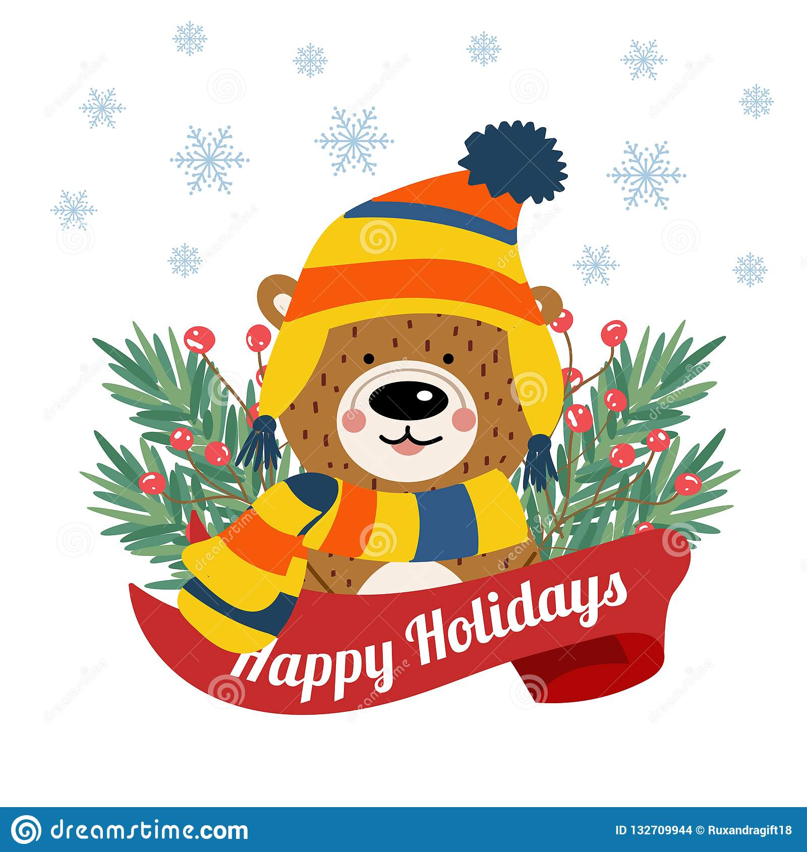 Cute Christmas card with tree braches and funny bear