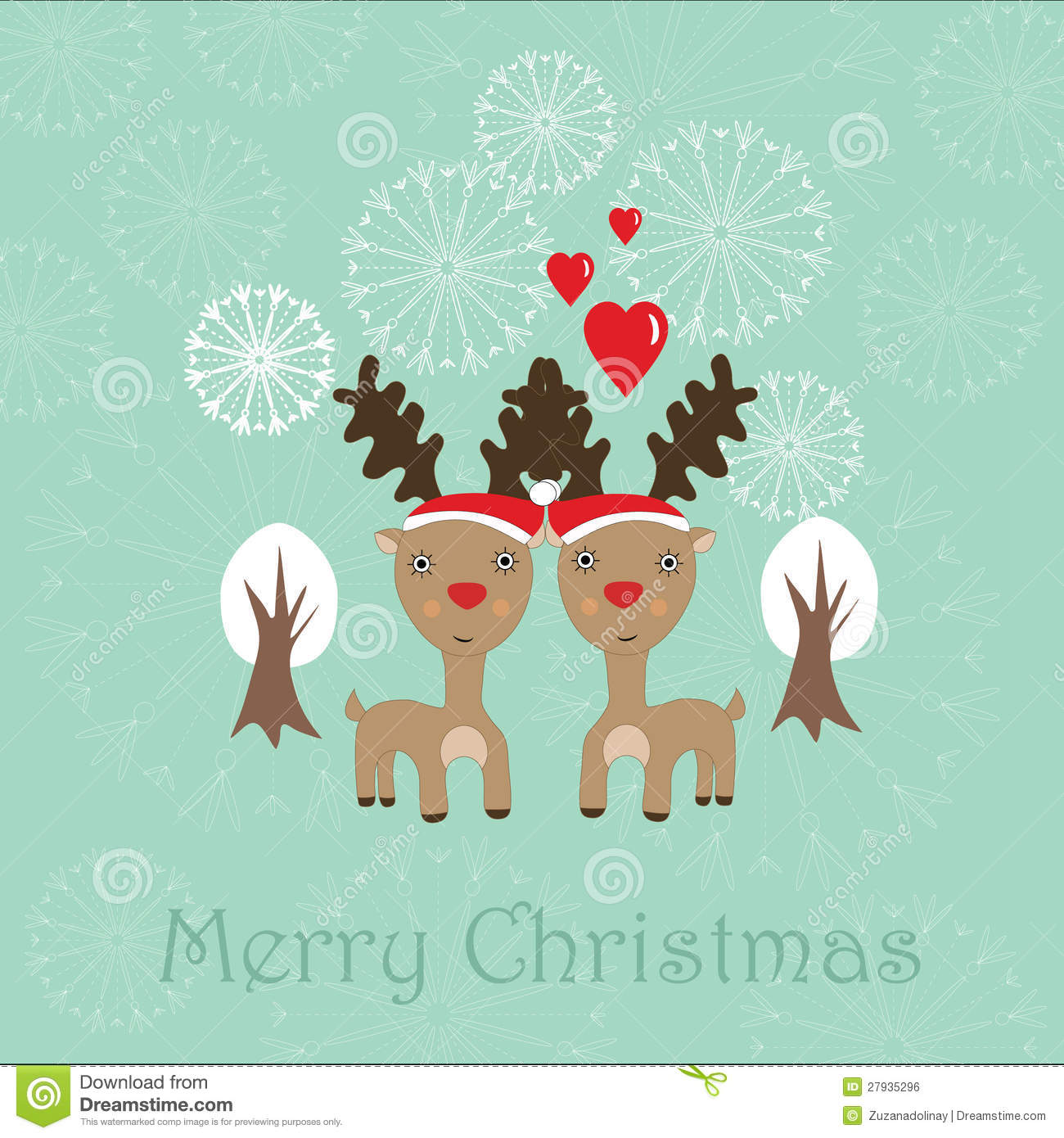 Cute Christmas Card With Two Reindeer Royalty Free Stock Image ...