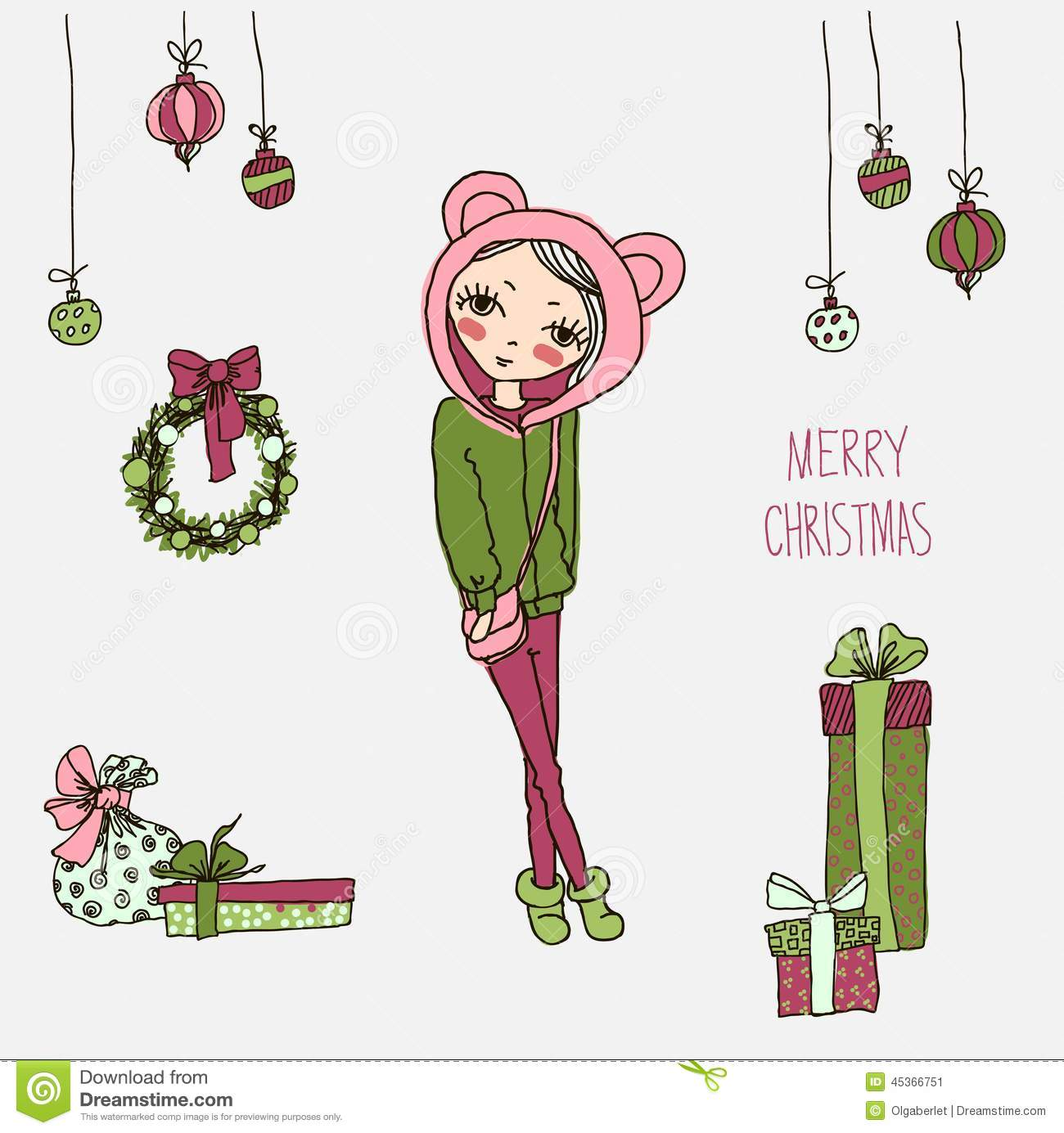 af3f3b665a860 Cute Christmas Card In Vector. Stock Vector - Illustration of ...